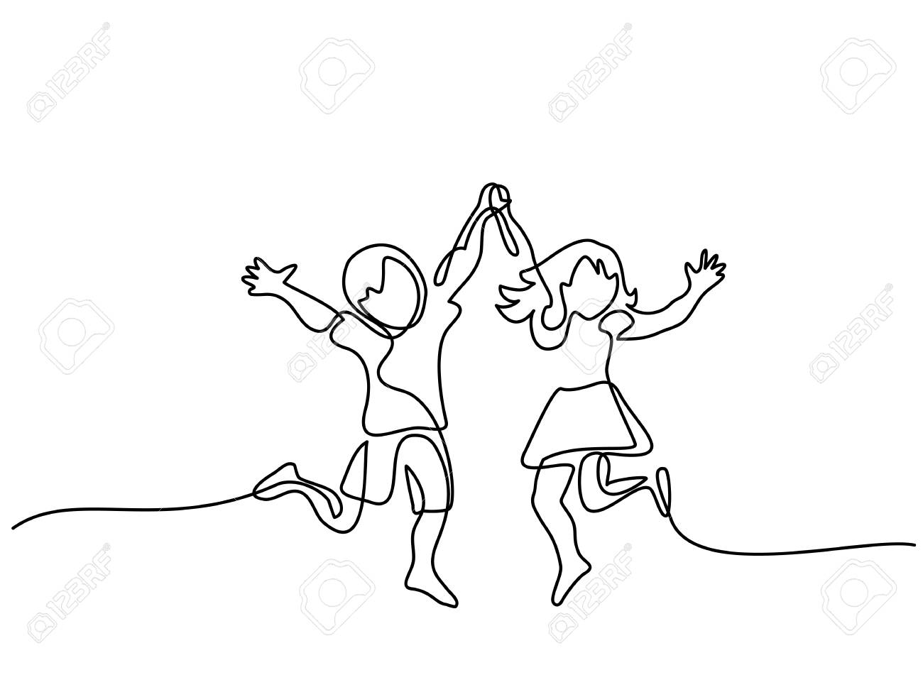 happy jumping children holding hands. continuous line drawing