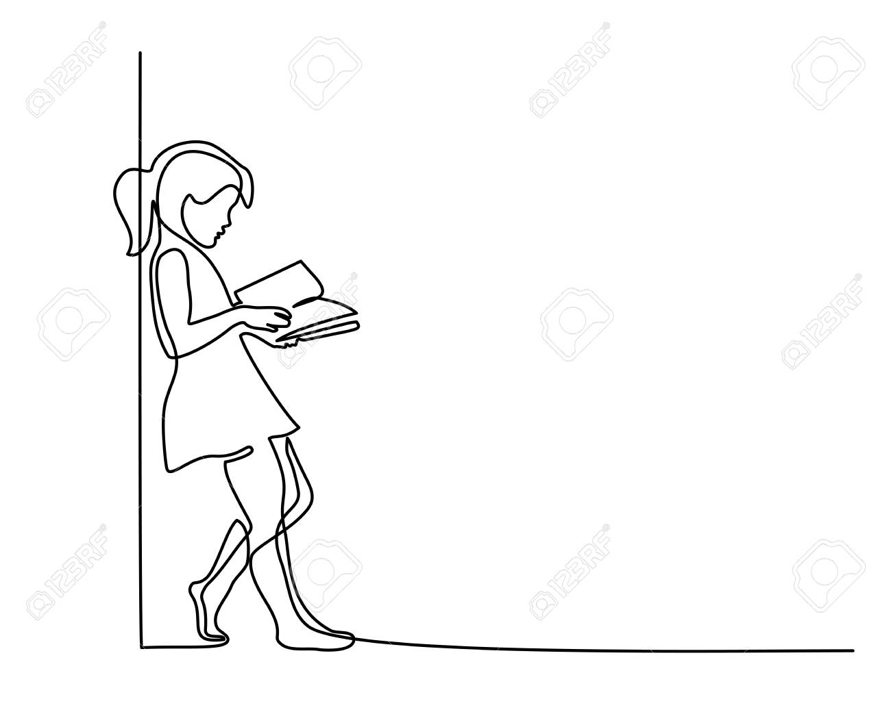 Continuous one line drawing. Girl reading book. Back to school concept. Vector illustration - 111915050