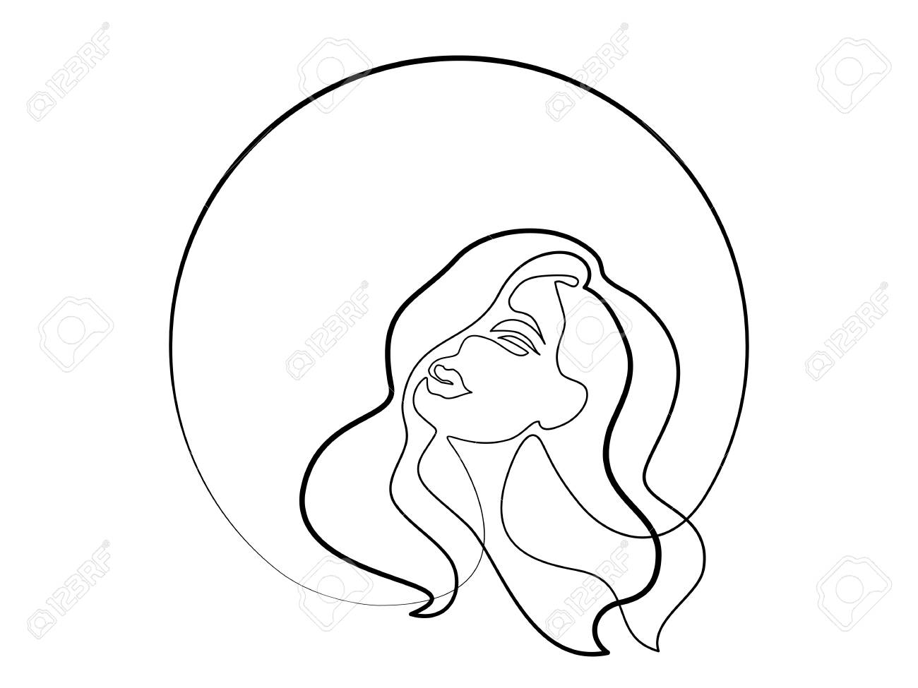 Continuous one different wide line drawing abstract portrait of pretty young woman with beautiful hair