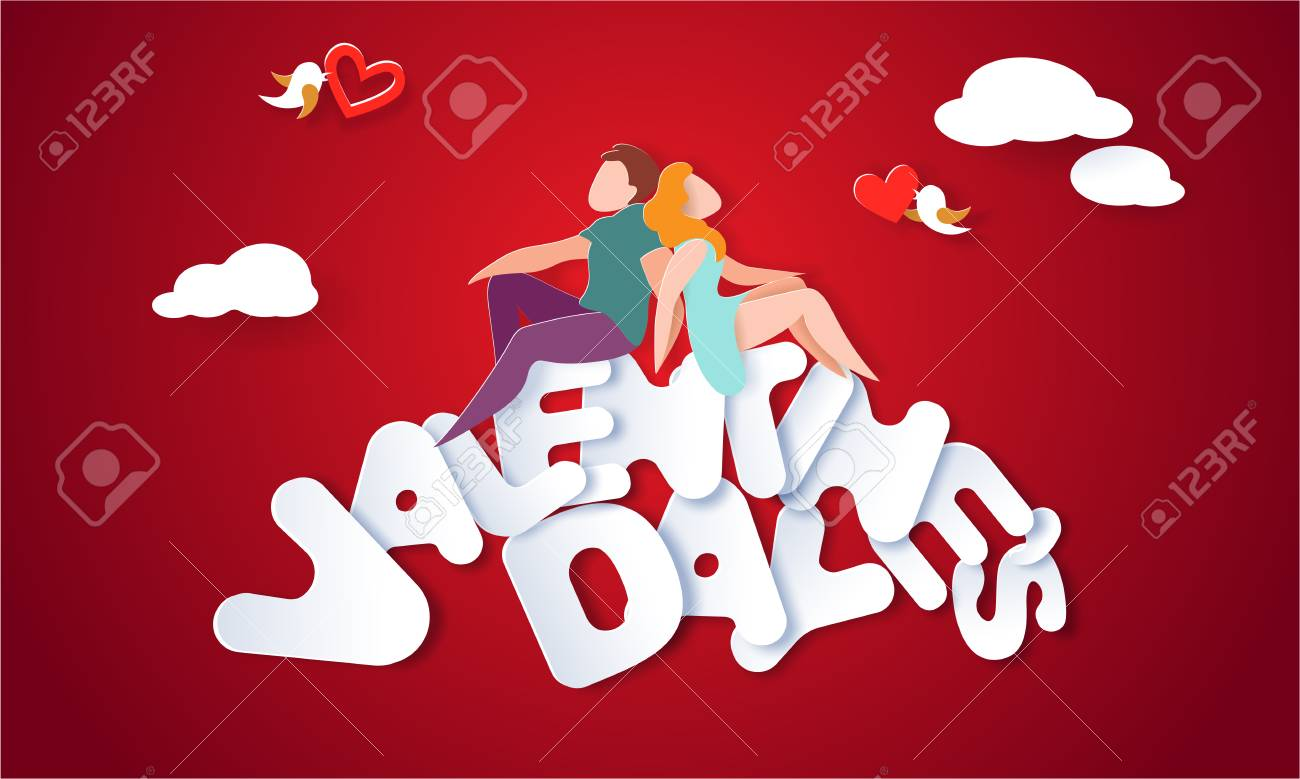 Valentines day card with couple sitting and holding hands on big letters with red background. Vector paper art illustration. Paper cut and craft style. - 126807679