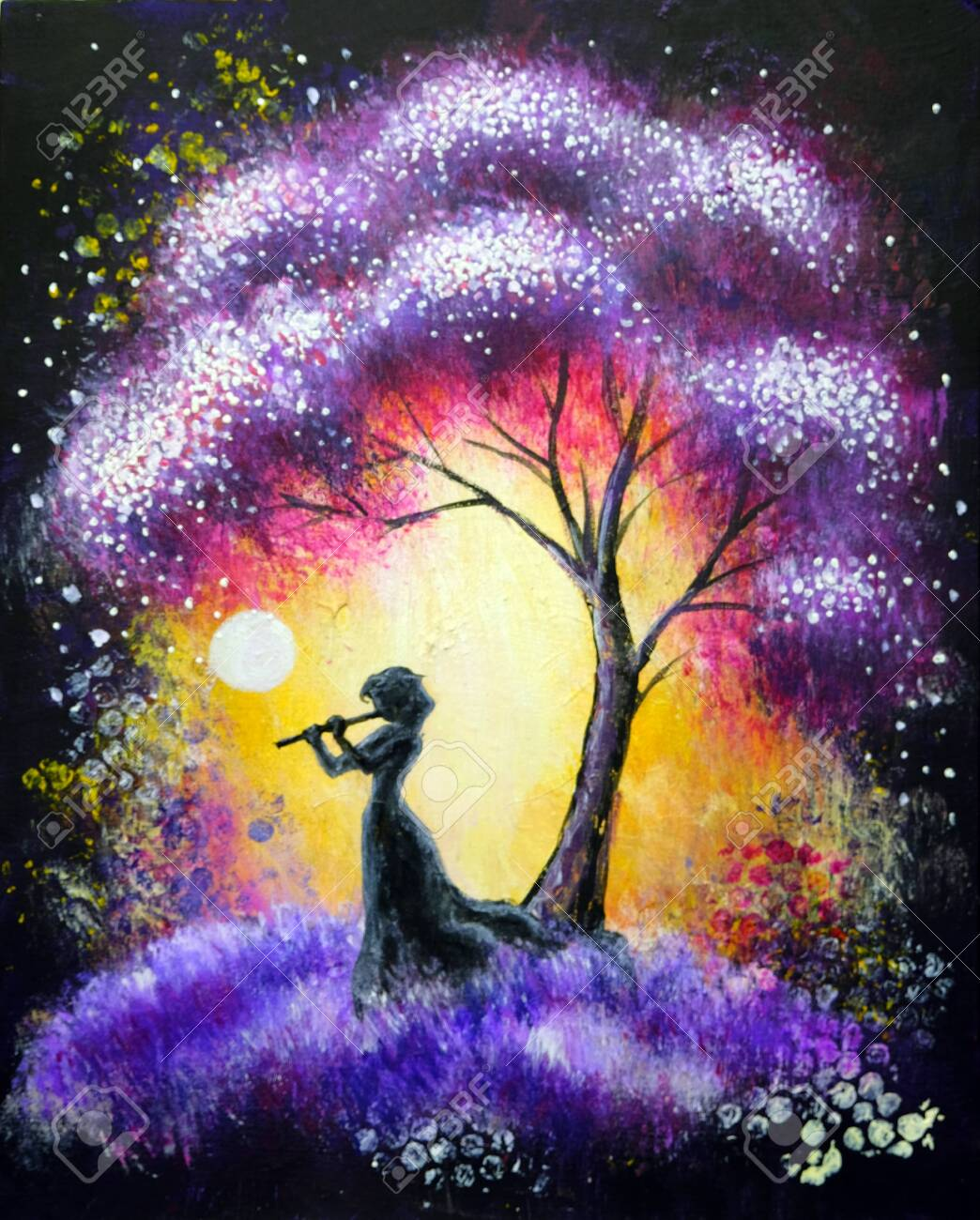 Oil Acrylic Painting Landscape Colorful Purple Tree At The Night