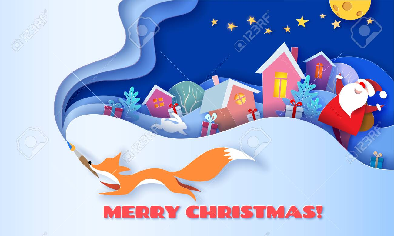 Horizontal banner Merry Christmas. Fox running with brush on blue background and multi layered shapes with trees and village. 3D paper cut art style. Vector illustration. - 131619081