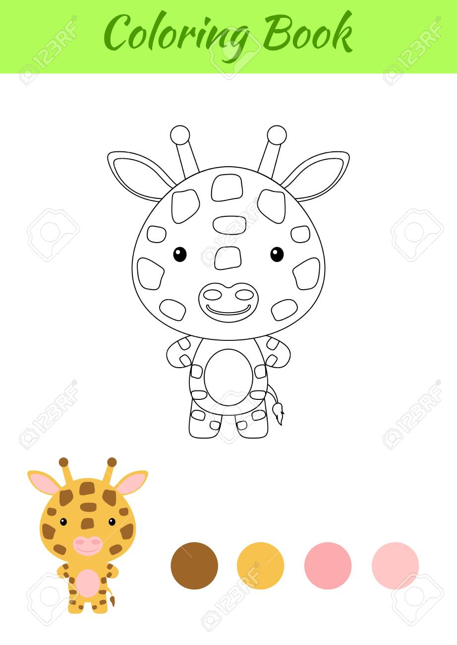 Coloring Page Happy Little Baby Giraffe Coloring Book For Kids Royalty Free Cliparts Vectors And Stock Illustration Image 148983496