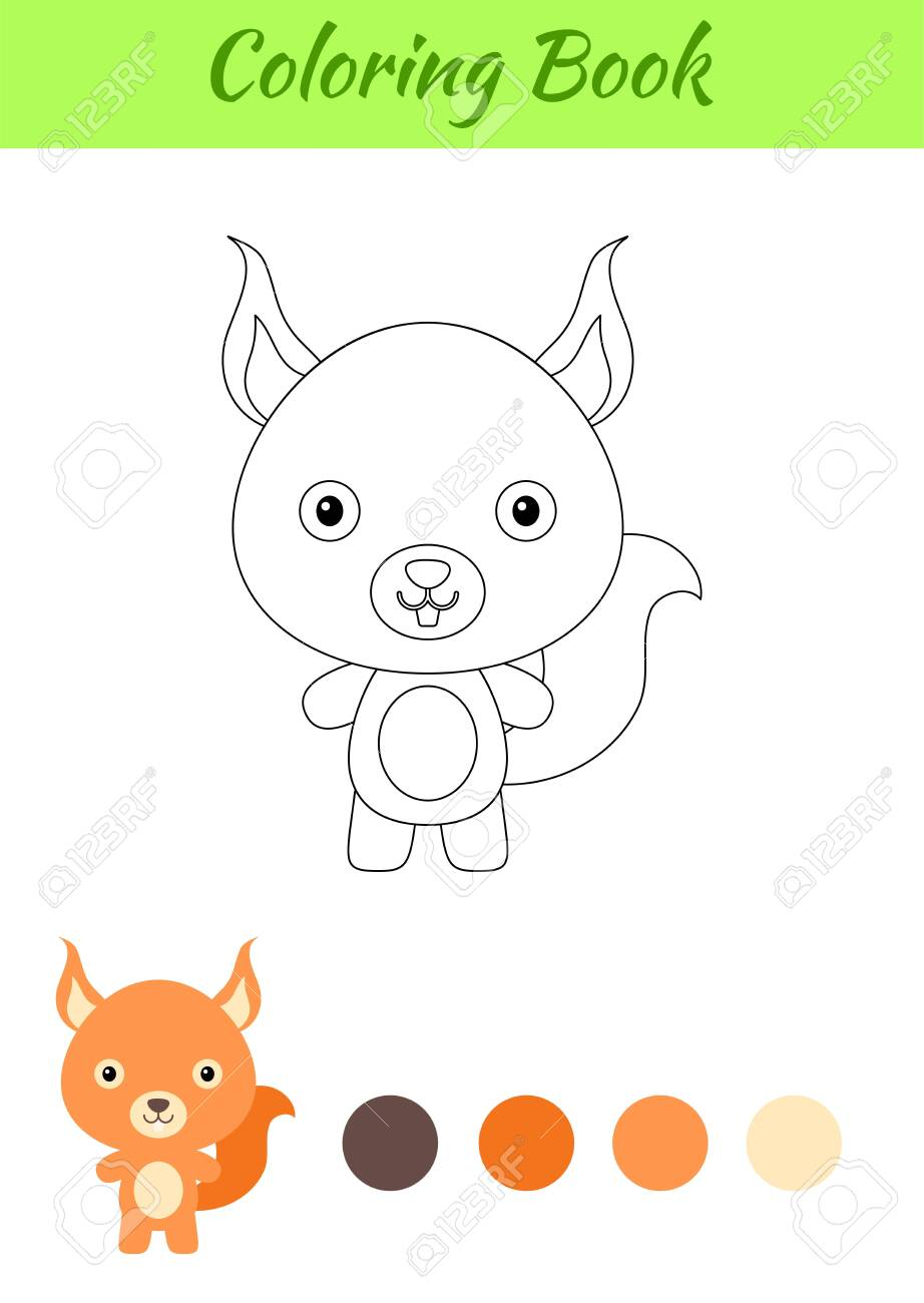 Coloring Page Happy Little Baby Squirrel Coloring Book For Kids Royalty Free Cliparts Vectors And Stock Illustration Image 148983923