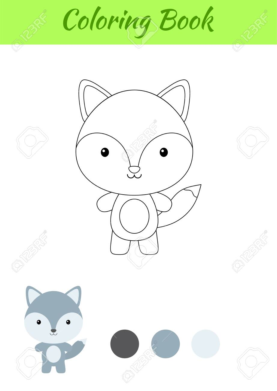 Coloring Page Happy Little Baby Wolf Coloring Book For Kids Educational Activity For Preschool Years Kids And Toddlers With Cute Animal Flat Cartoon Colorful Vector Illustration Lizenzfrei Nutzbare Vektorgrafiken Clip Arts Illustrationen
