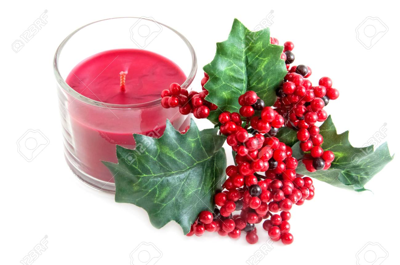 aroma candle and a twig of mistletoe Stock Photo - 16388143