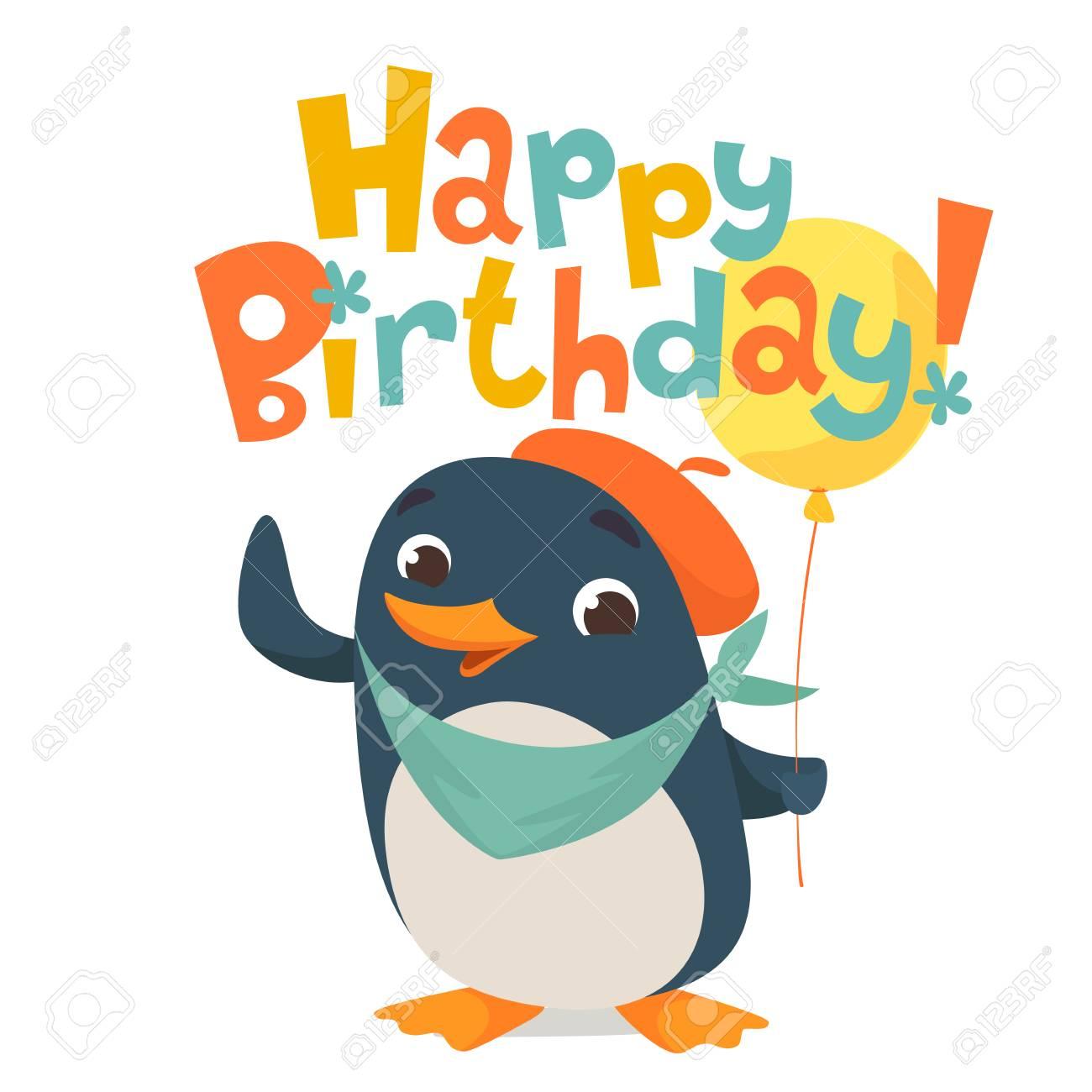 Happy Birthday Vector Card Baby Birthday Card With Cute Penguin