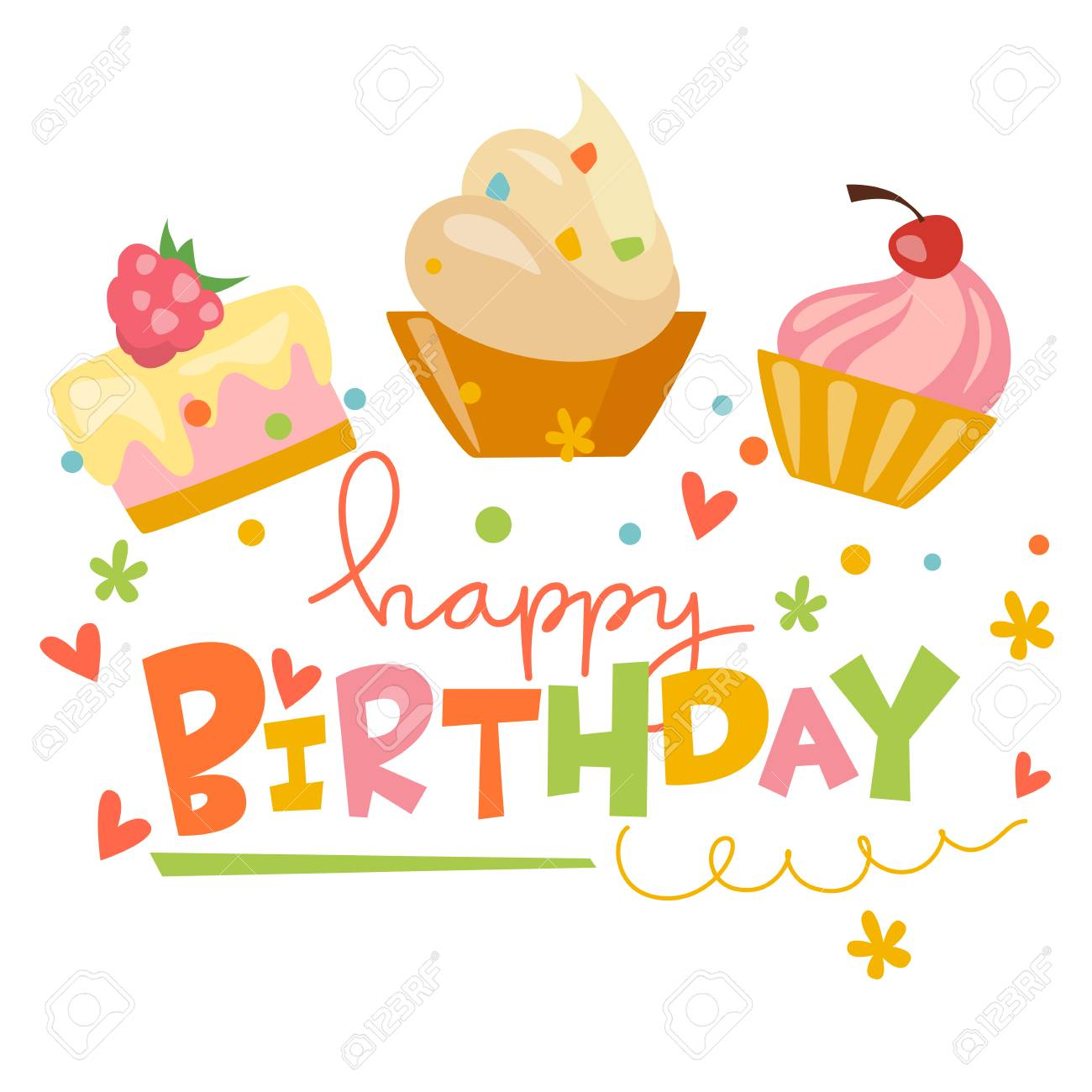 Happy Birthday Vector Card With Cute Cakes Royalty Free Cliparts