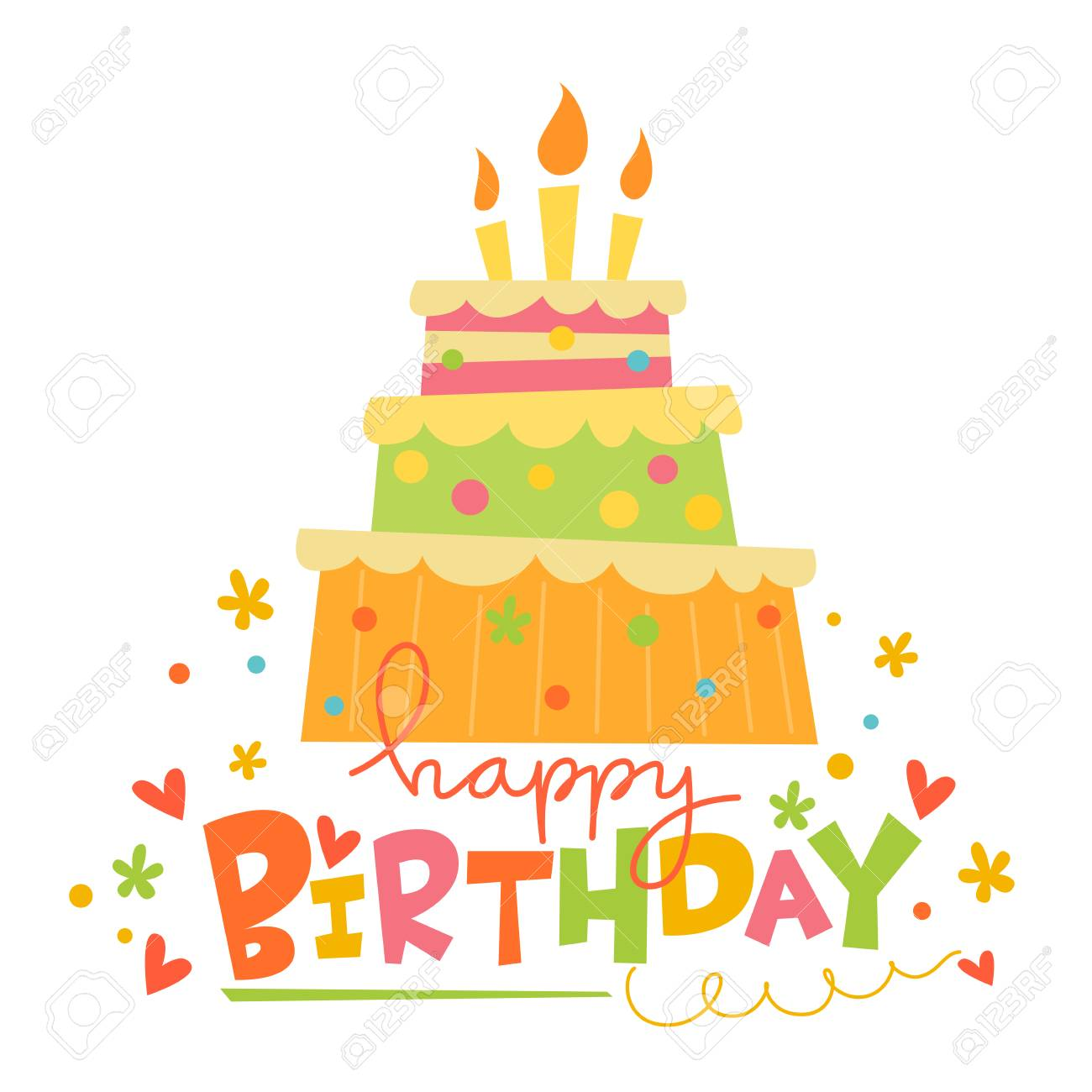 Vector Happy Birthday Card With Cute Cake Card With Sweets Royalty