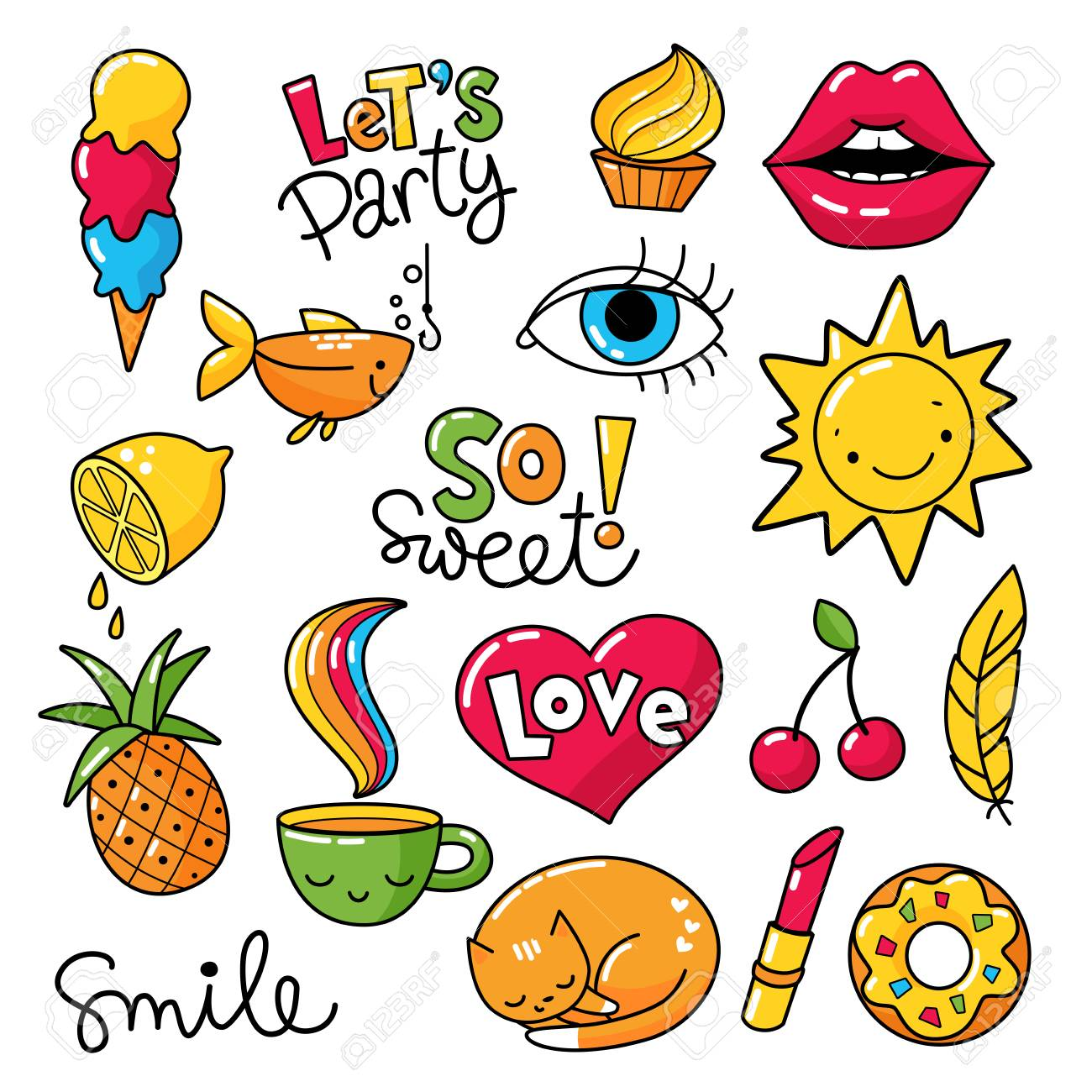 Vector vector set of cool stickers patches with food and summer symbols