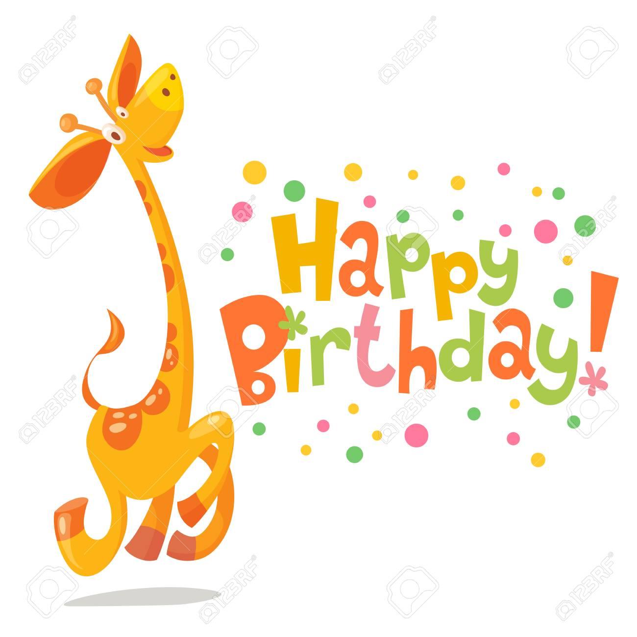 Happy Birthday Vector Card Baby Birthday Card With Cute Giraffe