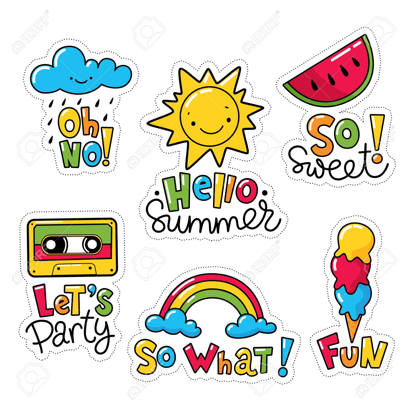 Vector vector set of cool stickers patches with food and summer symbols weather symbols with text