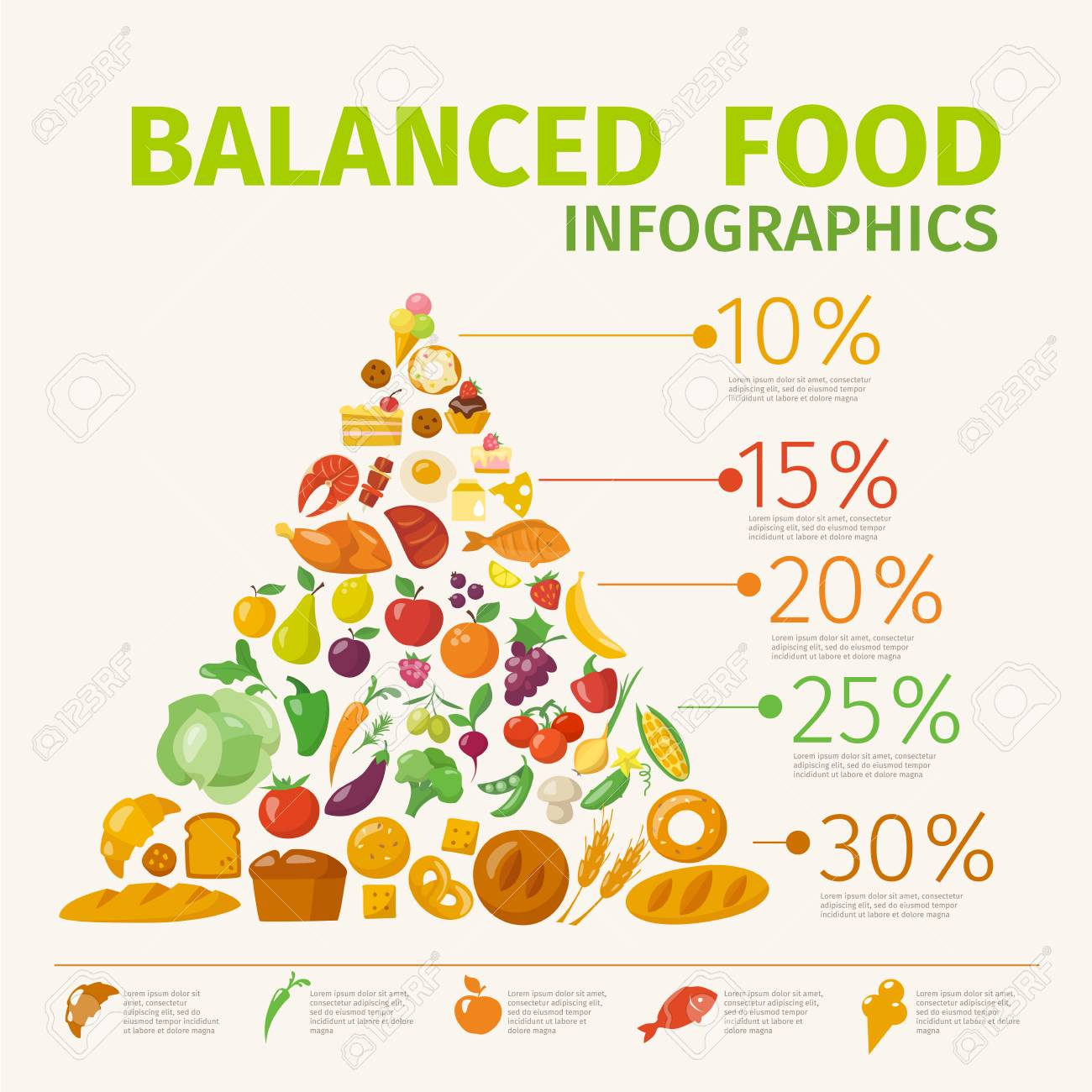 Vector poster with healthy food infographic pyramid. - 125011919