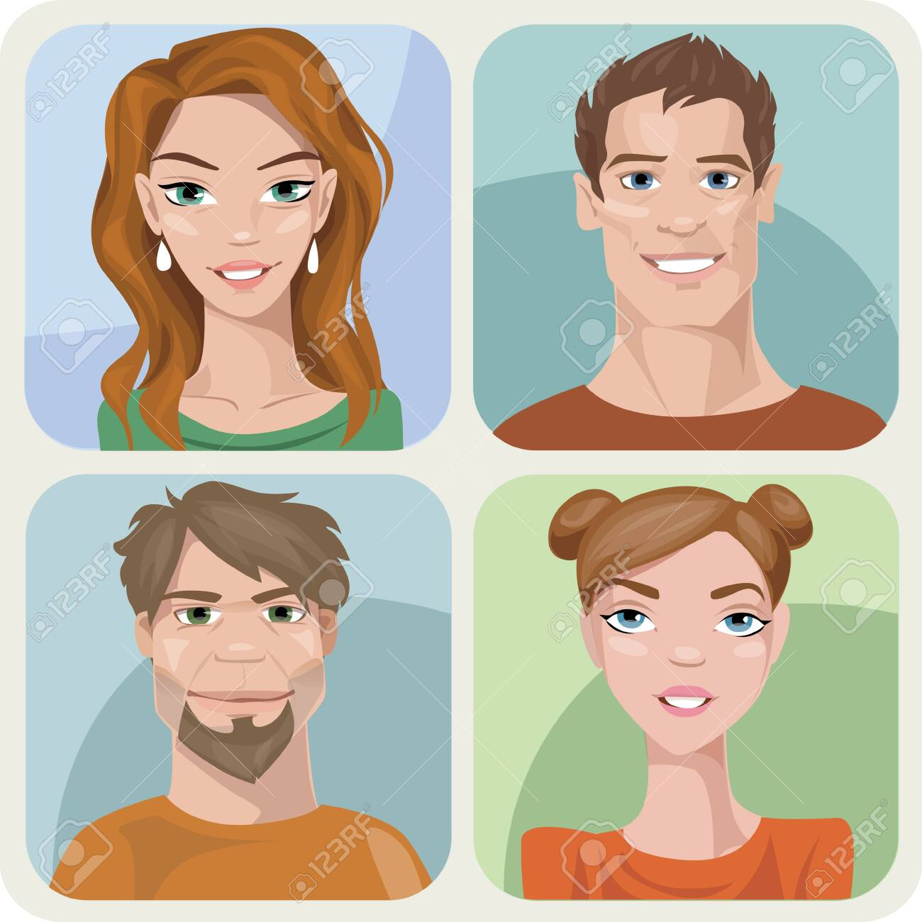 Set of four male and female young characters. - 145773163