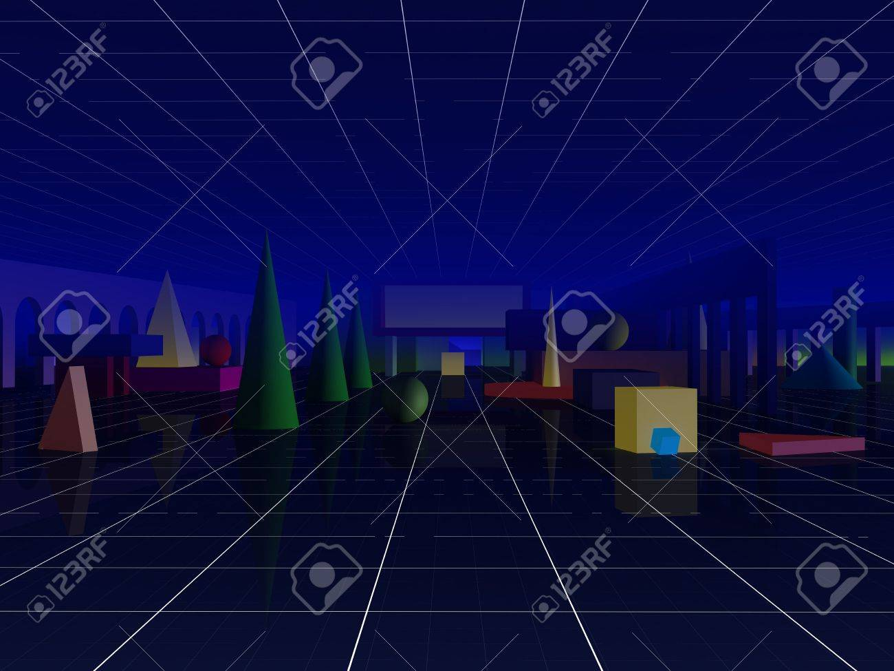 Abstract cityscape picture. Primitive forms urban conception. Stock Photo - 5305804