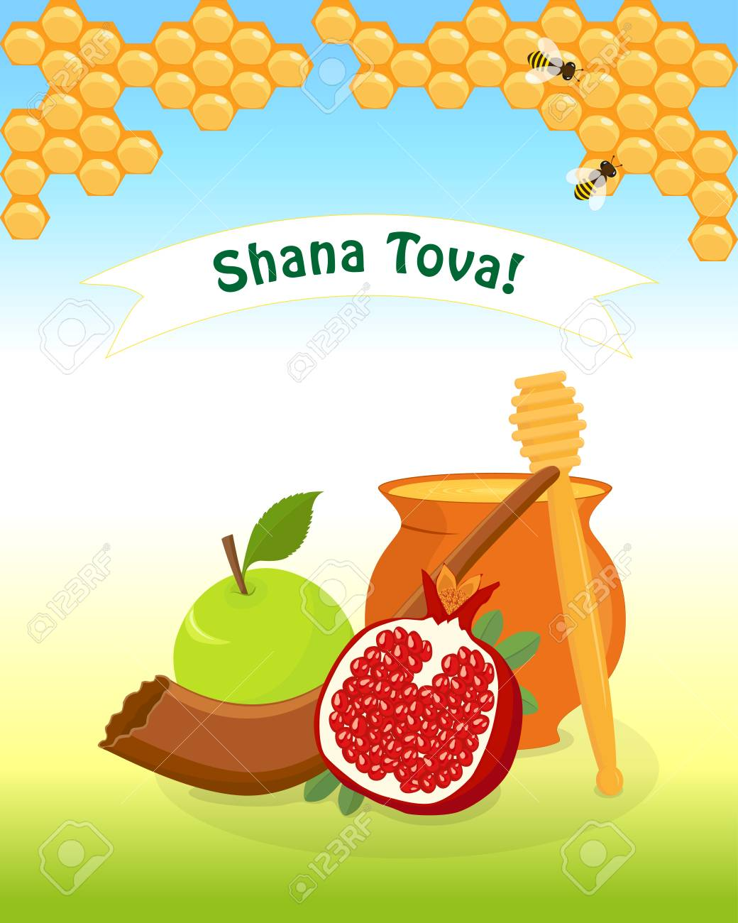 Greeting Card For Jewish New Year Rosh Hashanah With Traditional