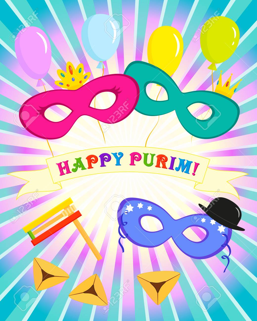 Greeting Card For Jewish Holiday Of Purim Masks With Traditional
