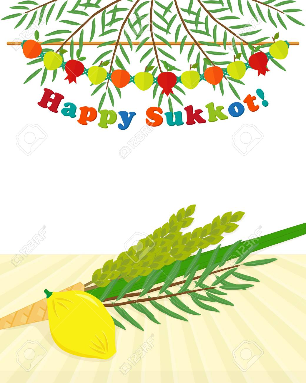 Greeting card with four species etrog lulav hadass aravah greeting card with four species etrog lulav hadass aravah symbols of m4hsunfo