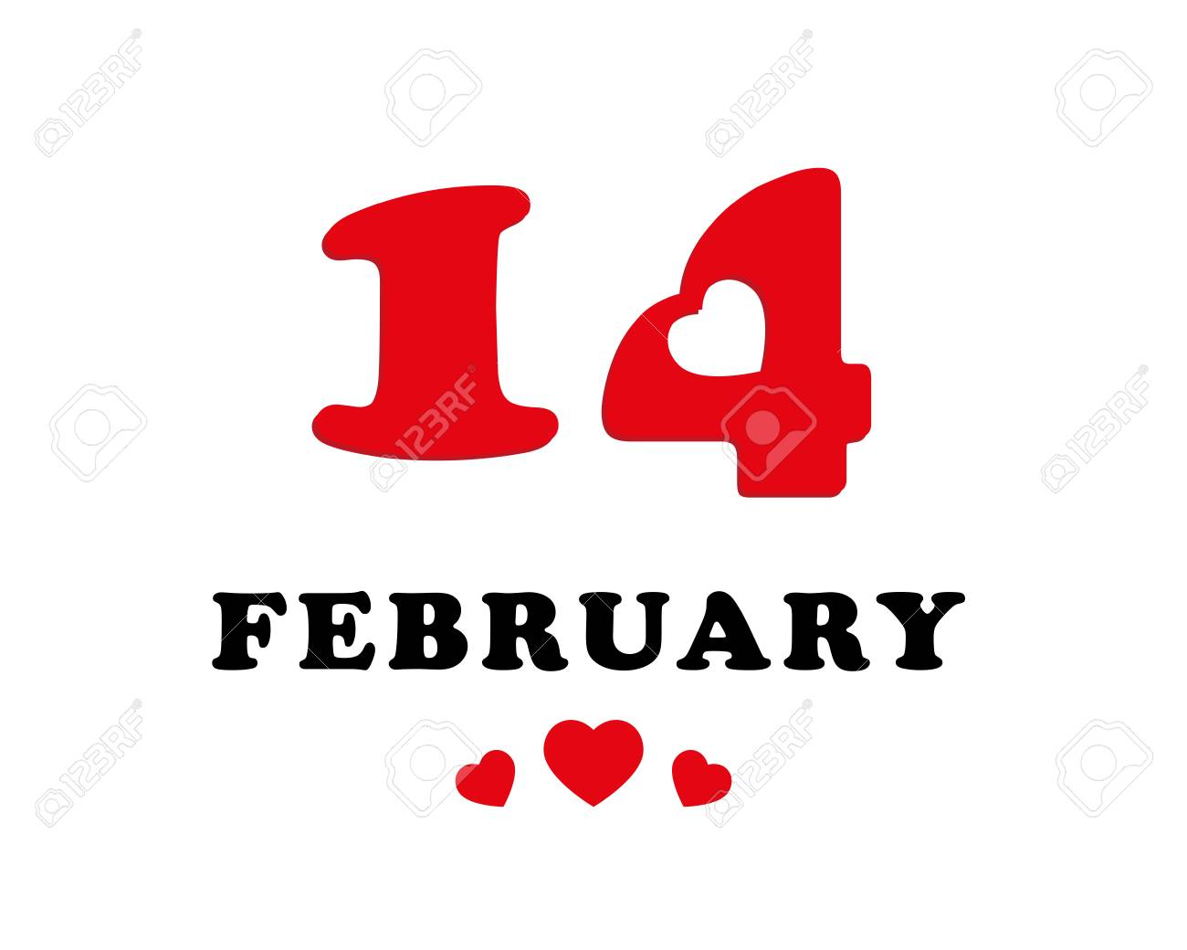 14 February Calendar Date In The Shape Of Heart Valentines
