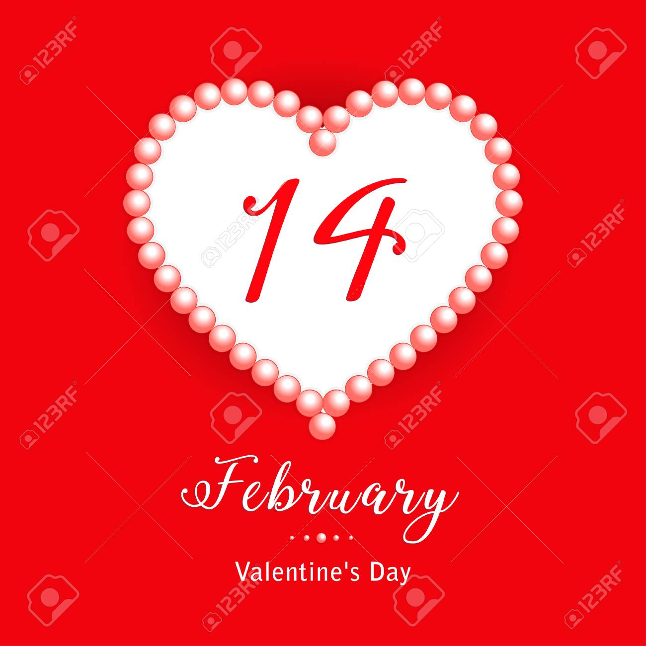 14 February Calendar Date In Heart With Pearl On Red Background