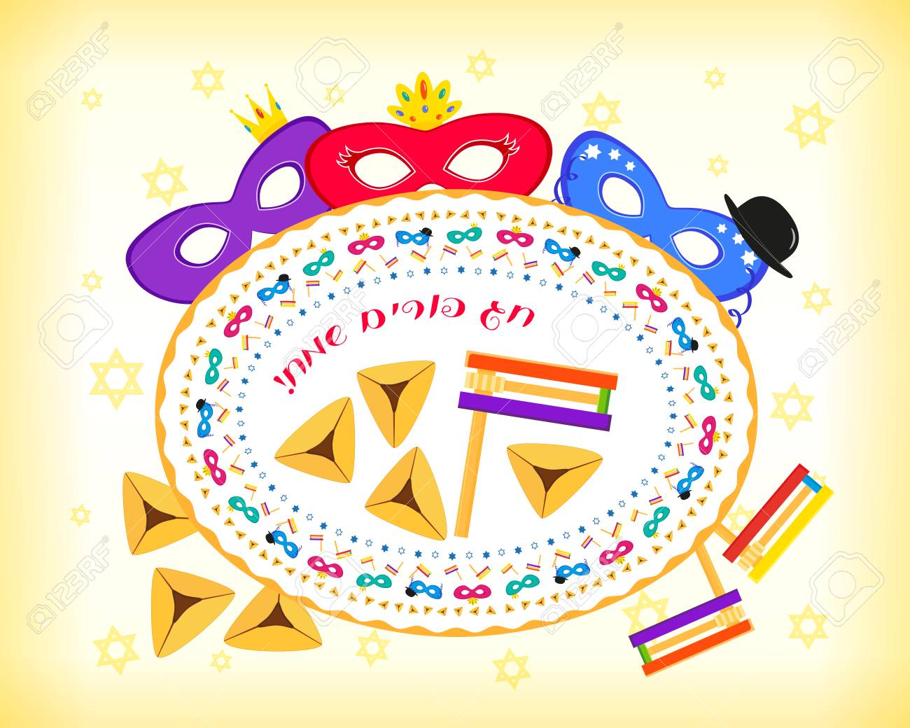 Jewish holiday of purim masks with traditional hamantash cookies jewish holiday of purim masks with traditional hamantash cookies gragger noise maker greeting m4hsunfo