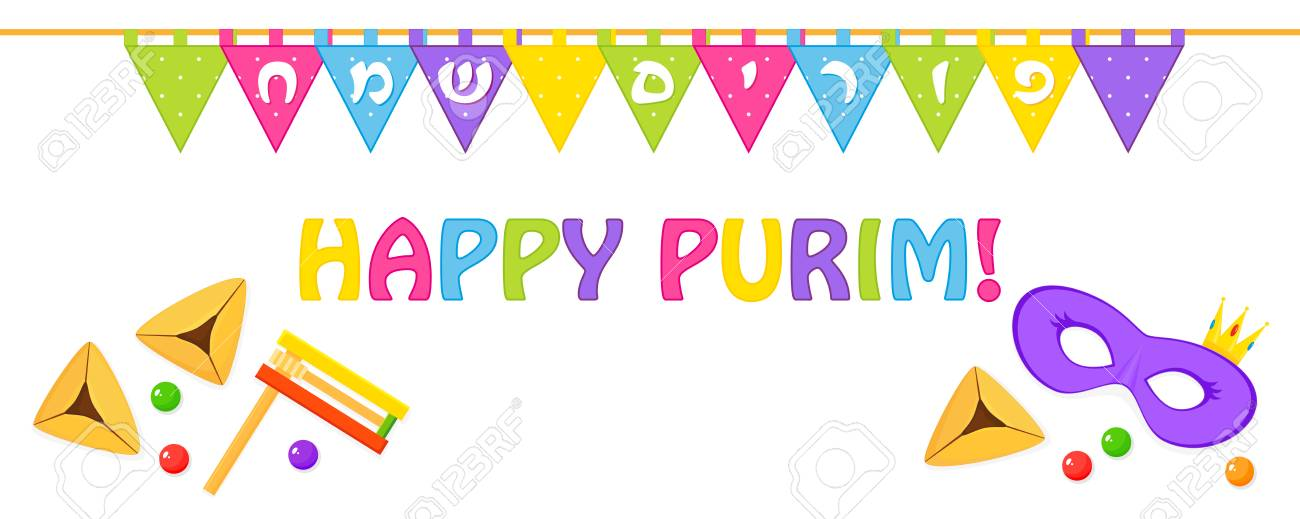 Jewish holiday of purim banner with colored triangular flags jewish holiday of purim banner with colored triangular flags with greeting inscription in hebrew m4hsunfo