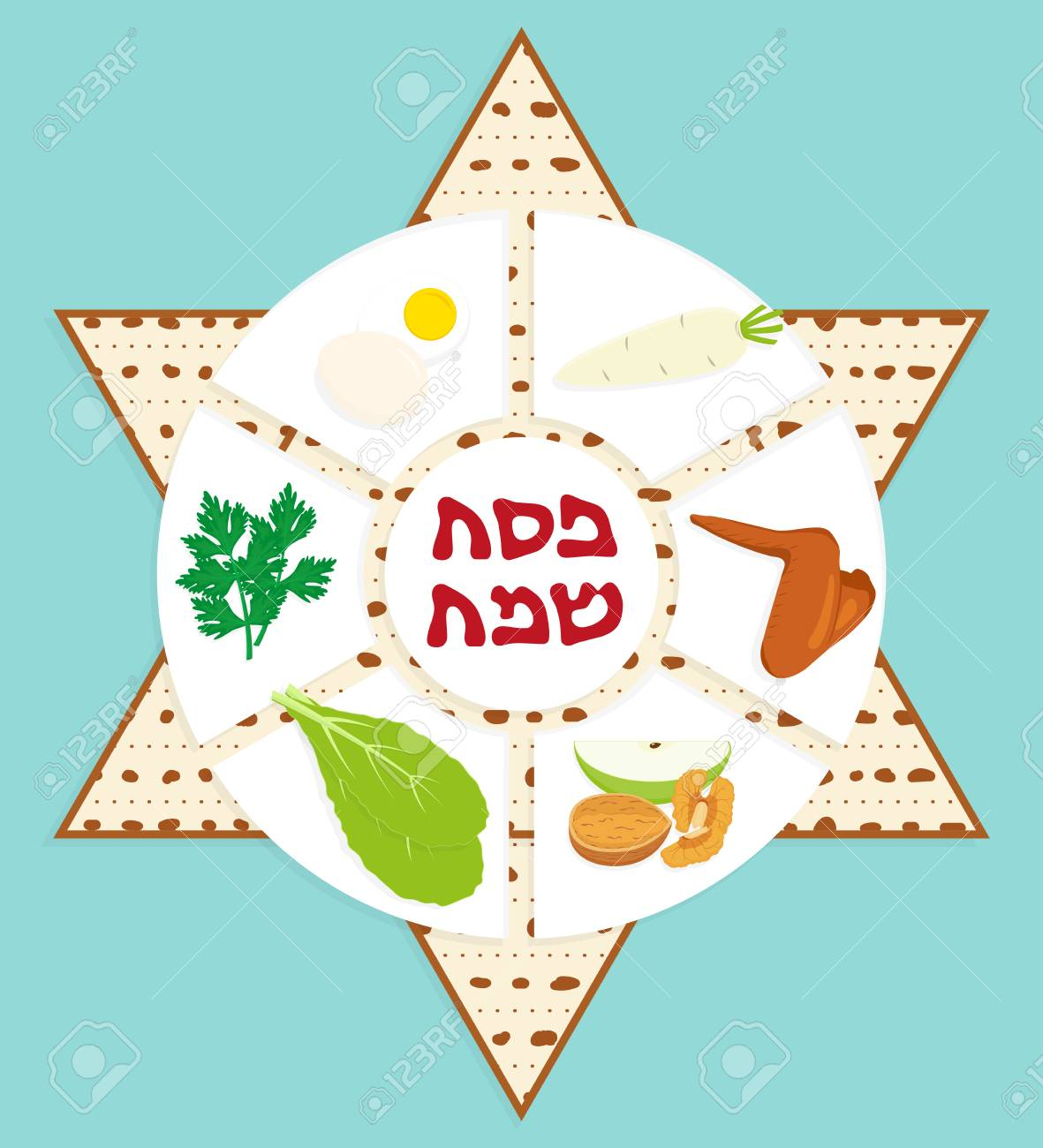 Passover Seder Plate Holiday Symbolic Foods On Matzah Star
