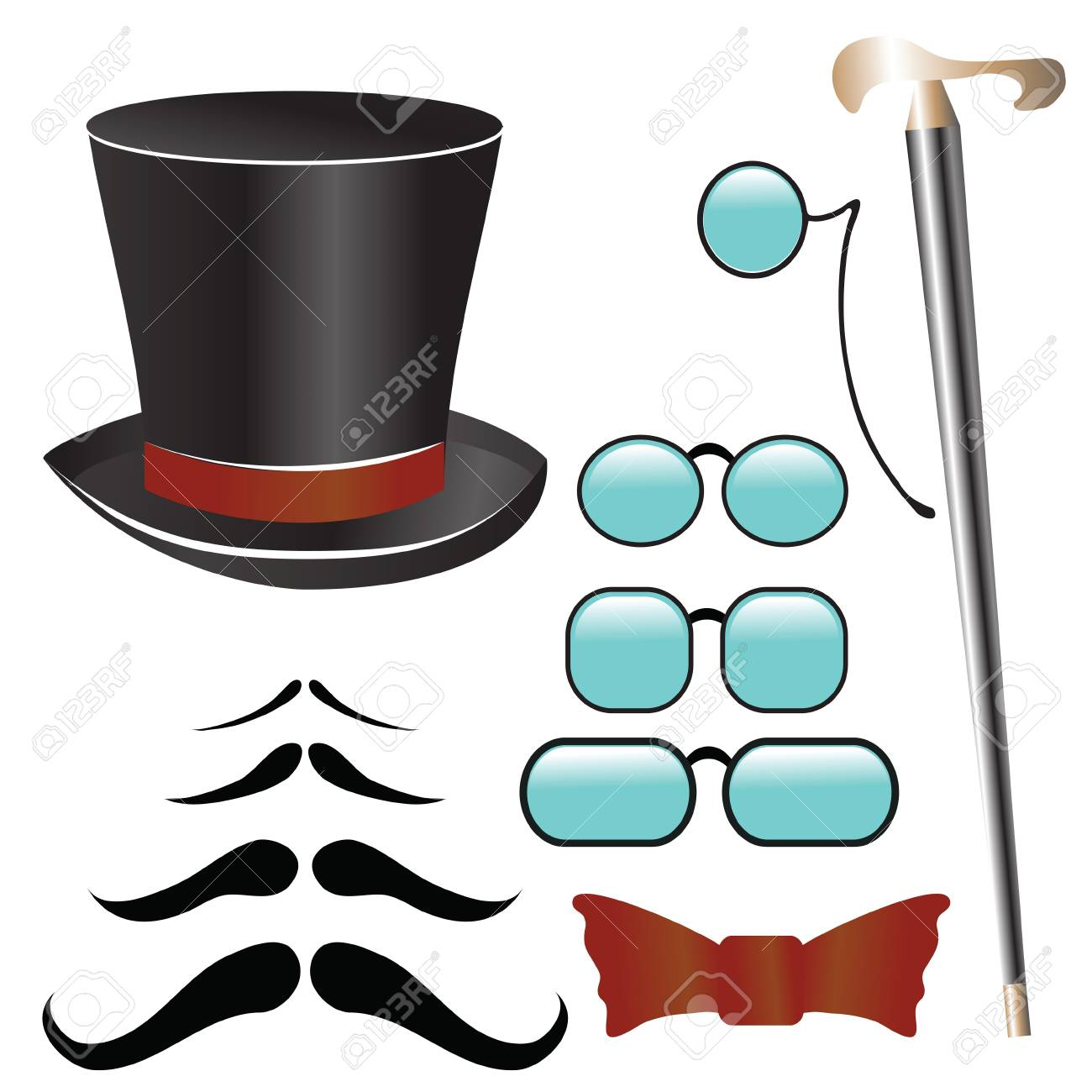 colorful illustration with mustaches and  retro accessories   for your design Stock Vector - 22910738
