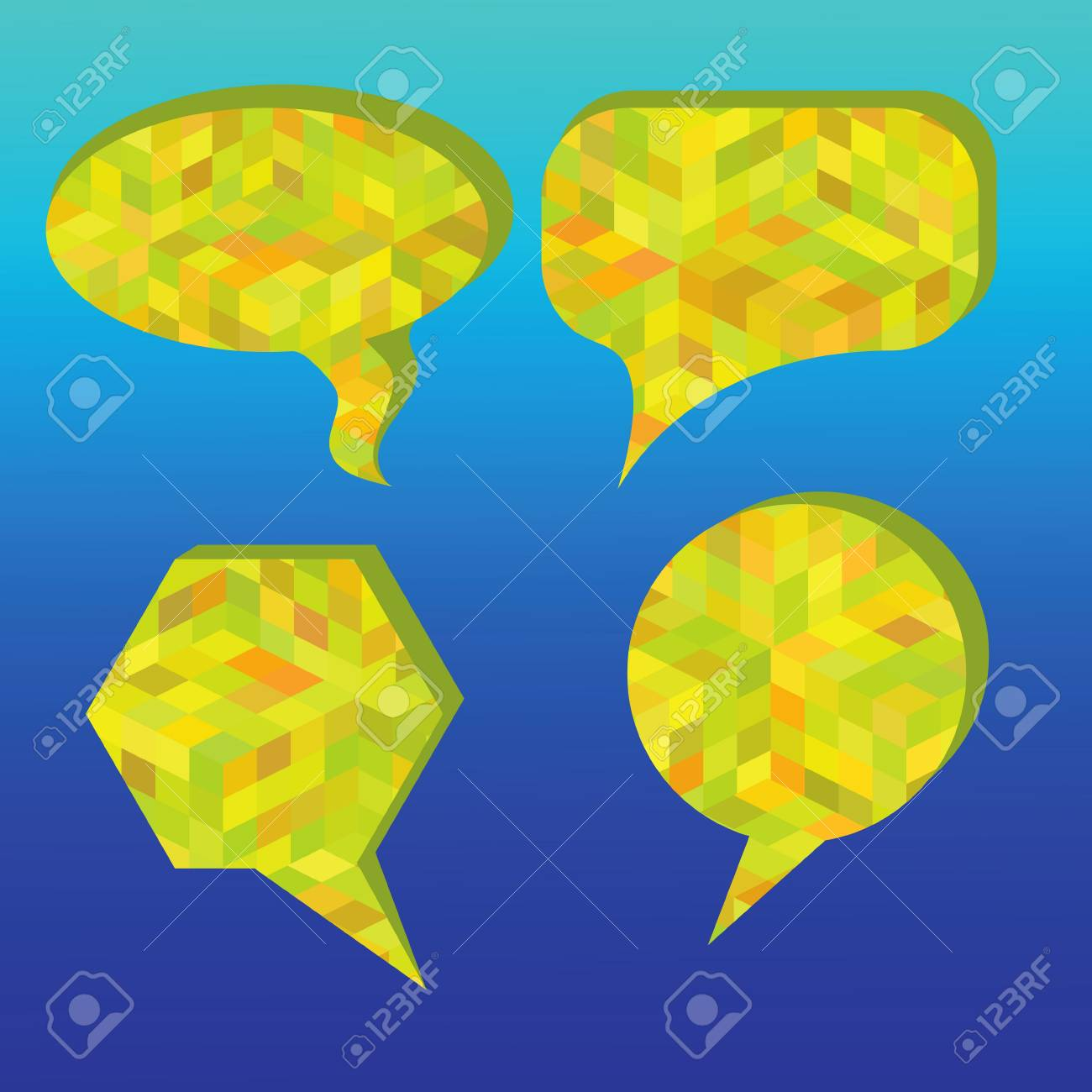 colorful illustration with speech bubbles on a blue background Stock Vector - 28598456