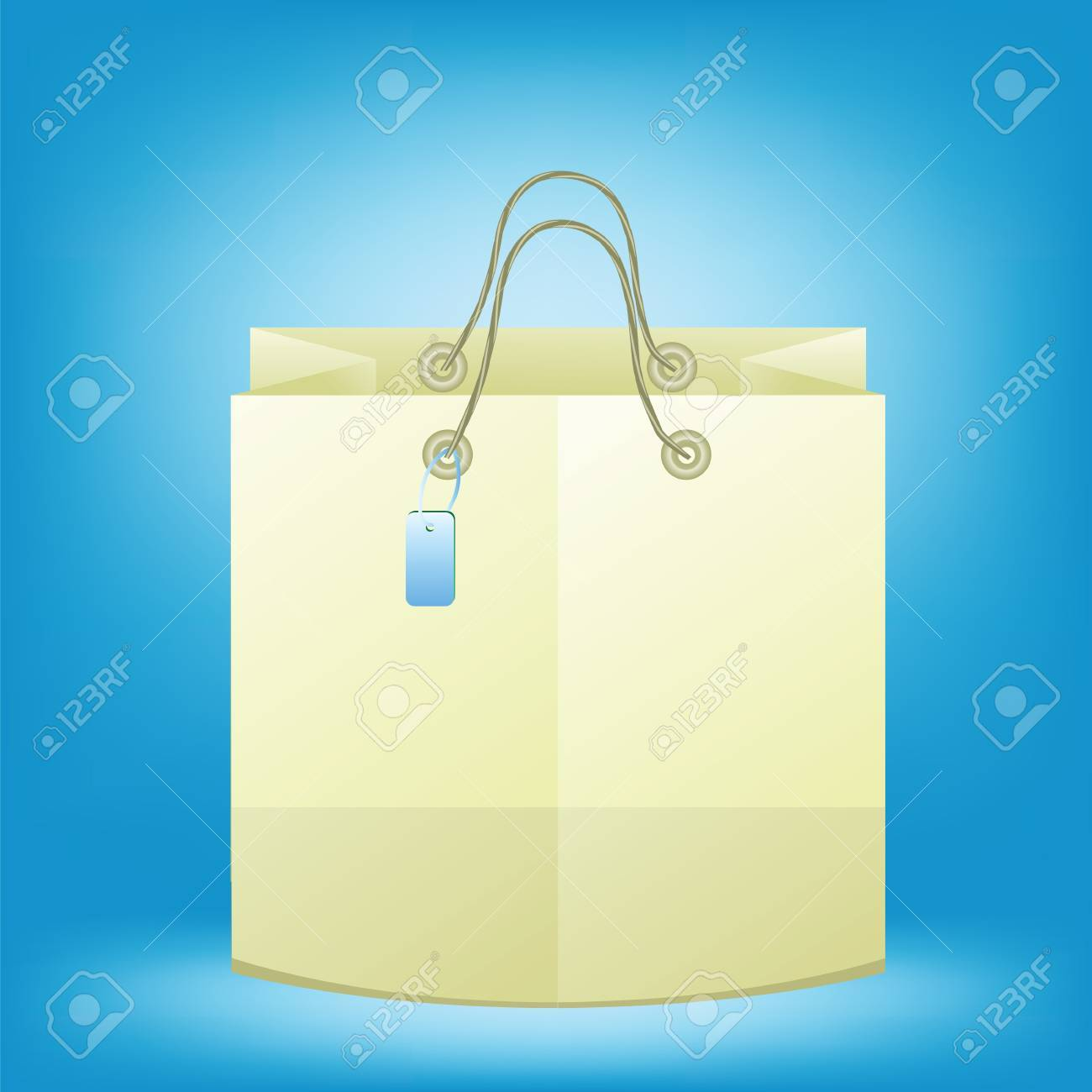 Paper Shopping Bag With Paper Handles And Funky Tag. Brown Shopping ...