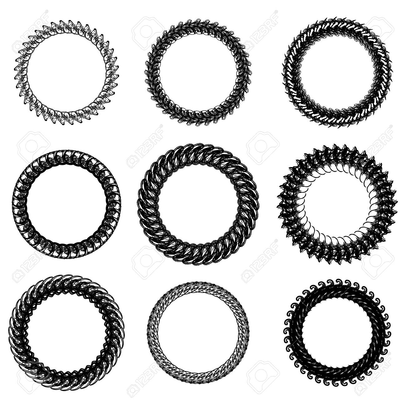 Set Of Decorative Circle Frames Isolated On White Backgrond Royalty ...