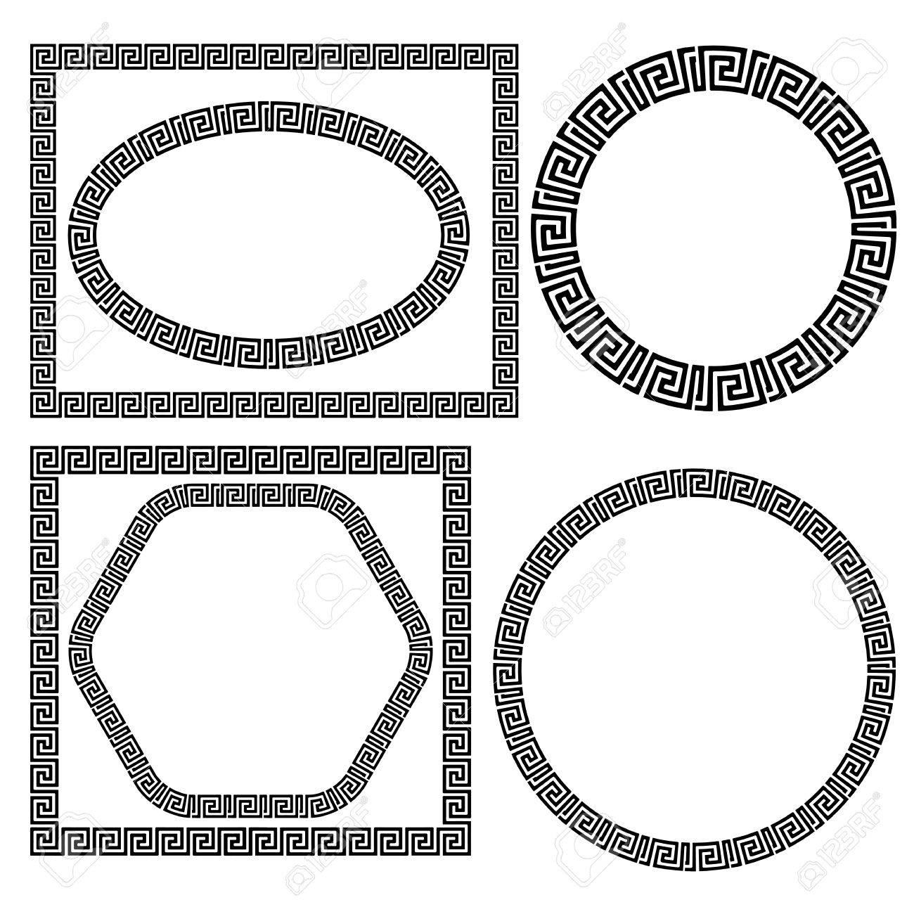 Set of Greek Ornamenal Frames Isolated on White Background - 46528201