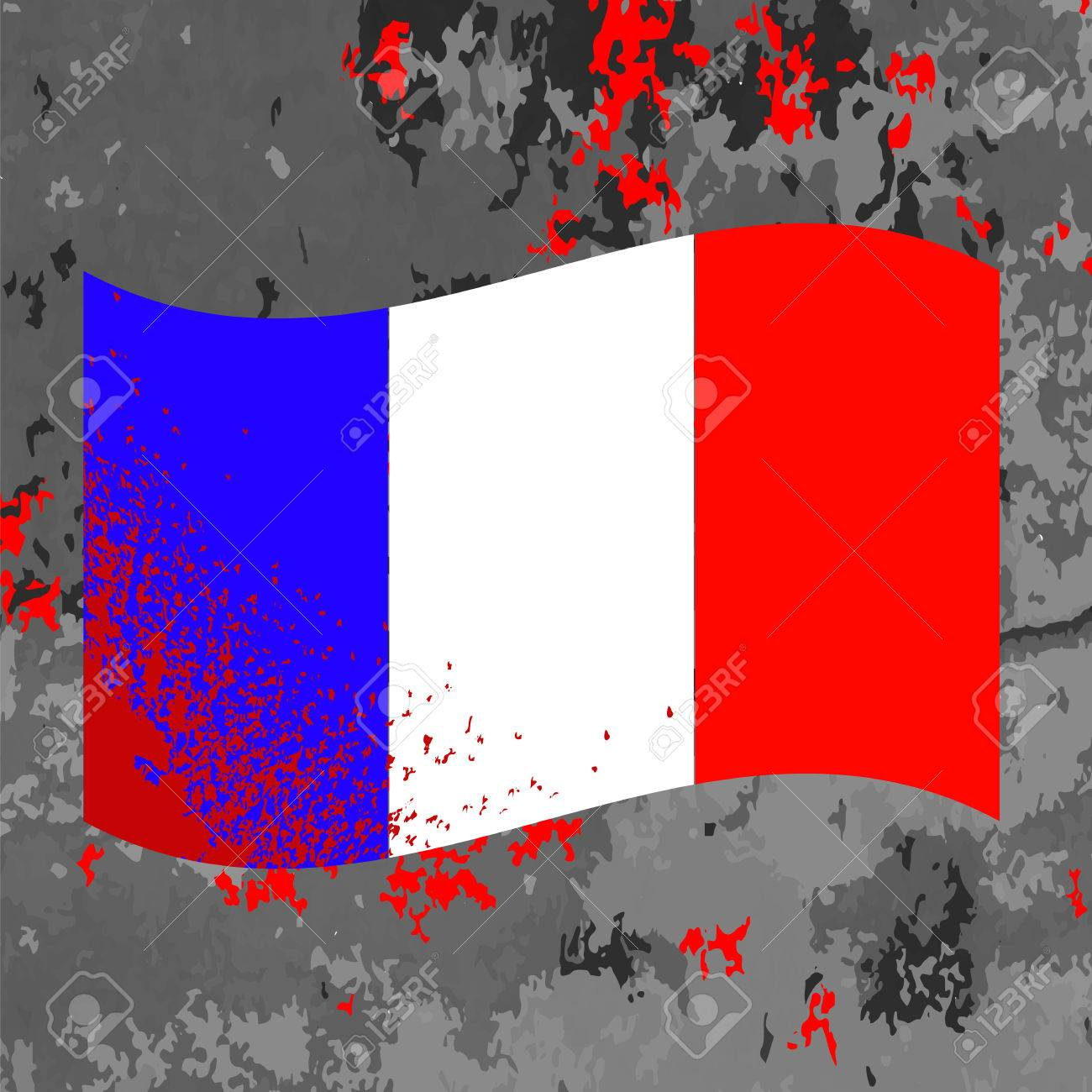 flag of france and blood splatter bloody french flag on grey