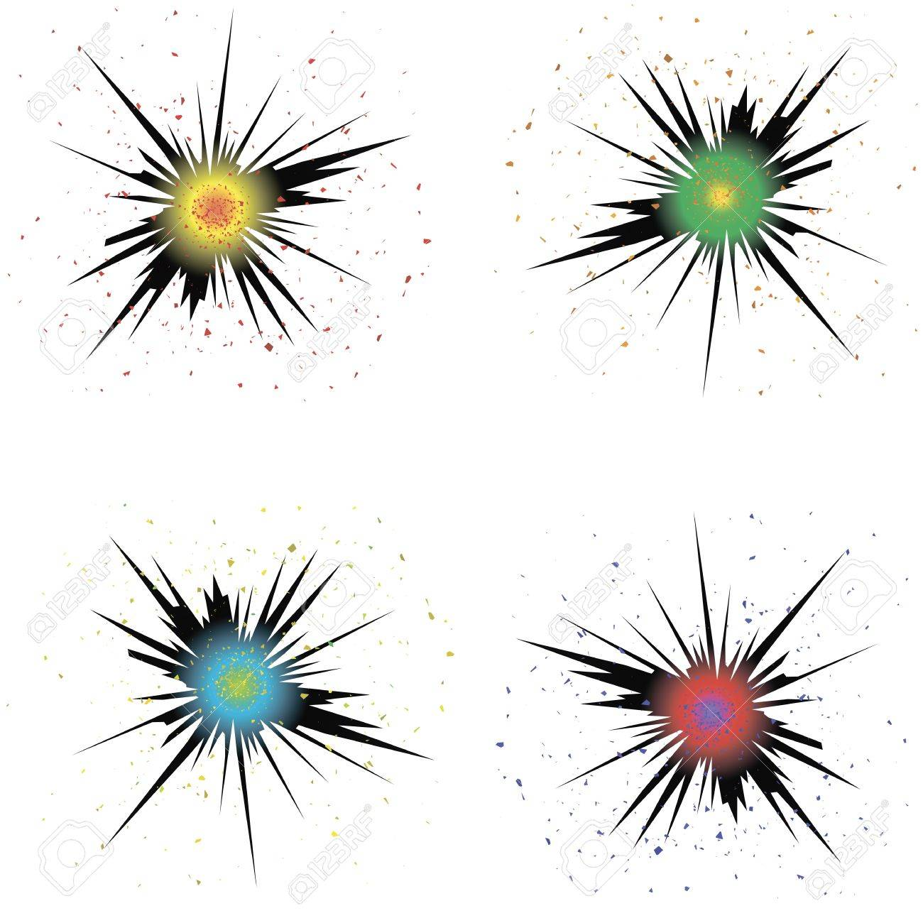 White Background Set Of Colorful Bursts Explode Flash Cartoon Explosion Effect With Smoke Bomb Comic