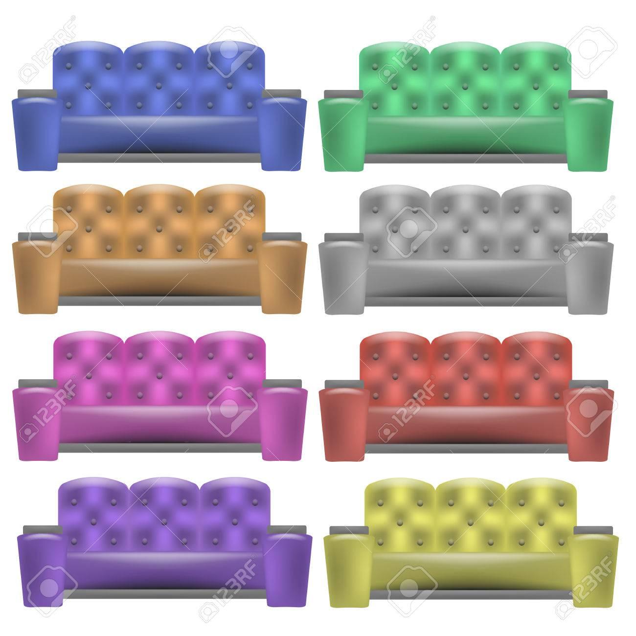 Bunte Leder Bequemen Weiches Sofa Sammlung Für Moderne Wohnzimmer Auf  Weißen Hintergrund Standard