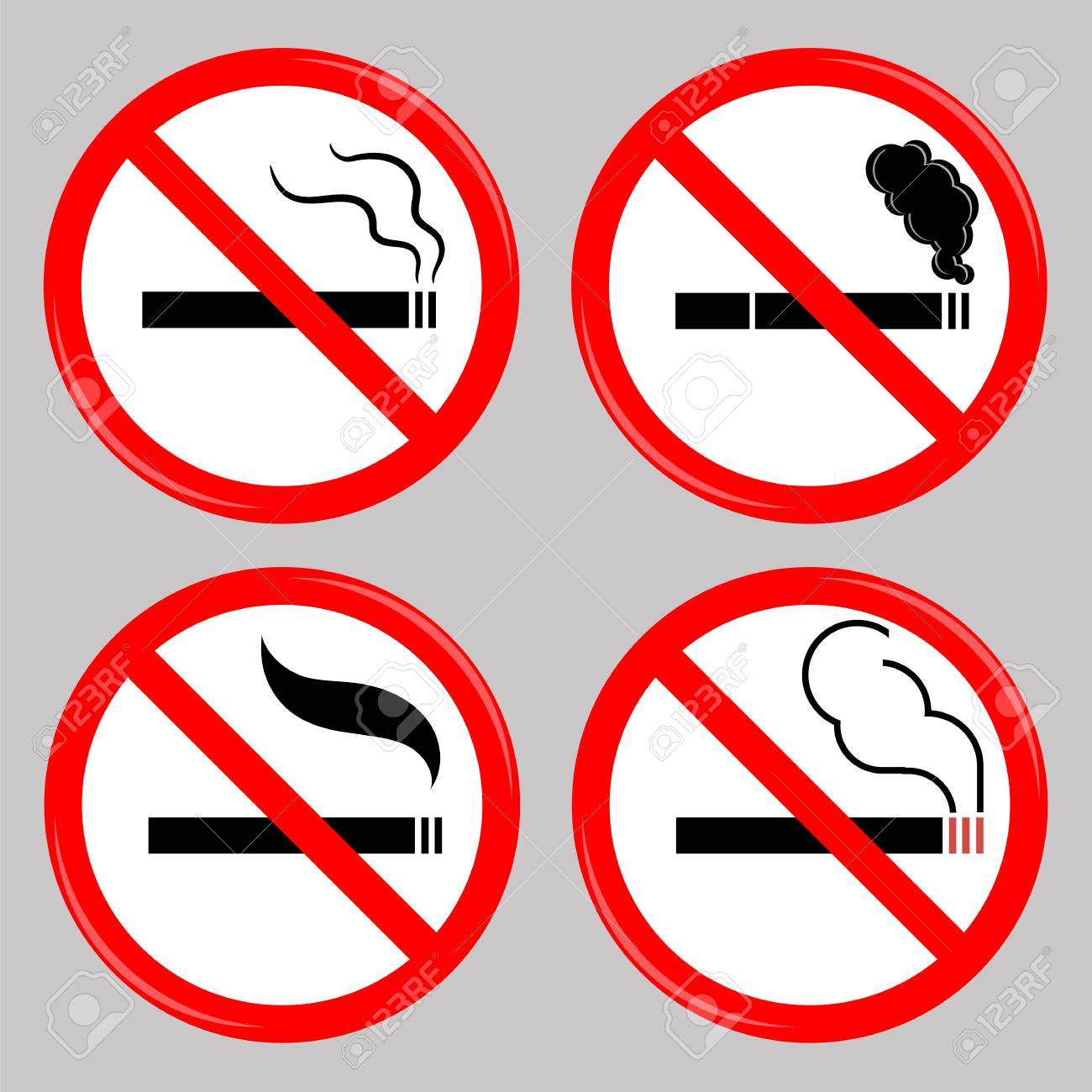 No Smoking Cigarette Smoke And Cigar Prohibited Symbols Isolated