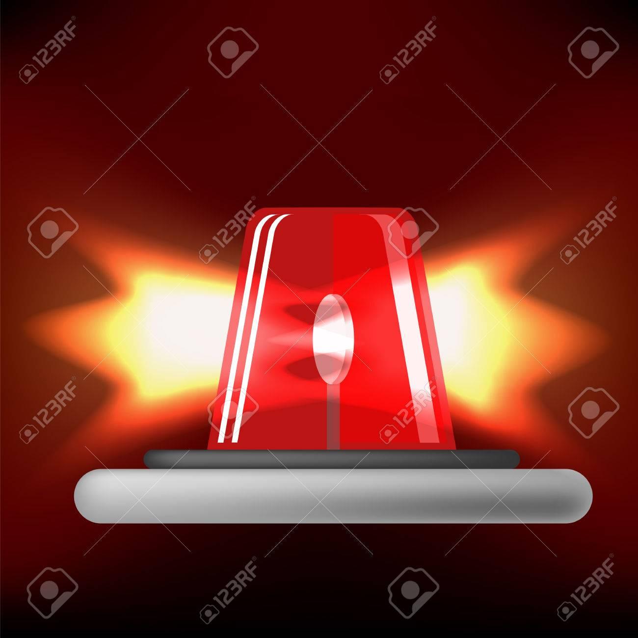 Siren Icon Isolated On Black Background Red Emergency Flash Car Light And Alarm Symbol Zdjcie Seryjne