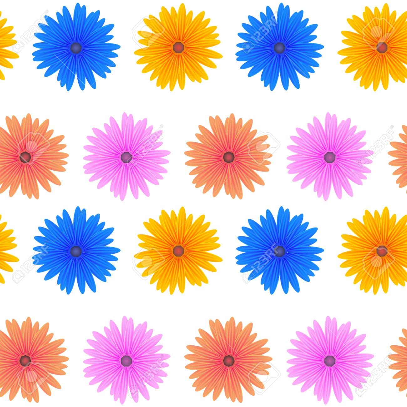 Spring Pink Blue Yellow Flowers Isolated On White Background