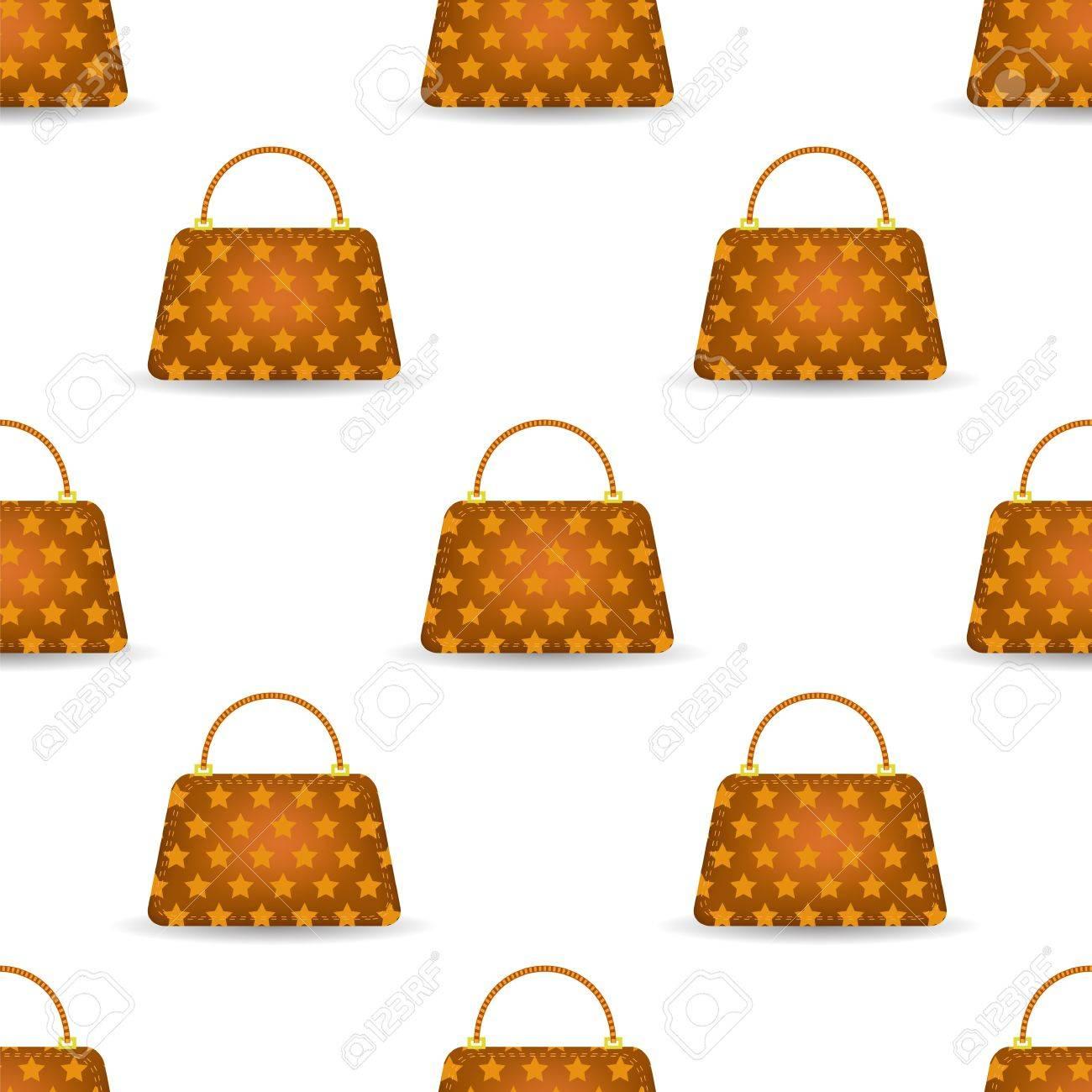 6bbfc6f69 Foto de archivo - Patrón sin fisuras para mujer del bolso naranja sobre  fondo blanco.