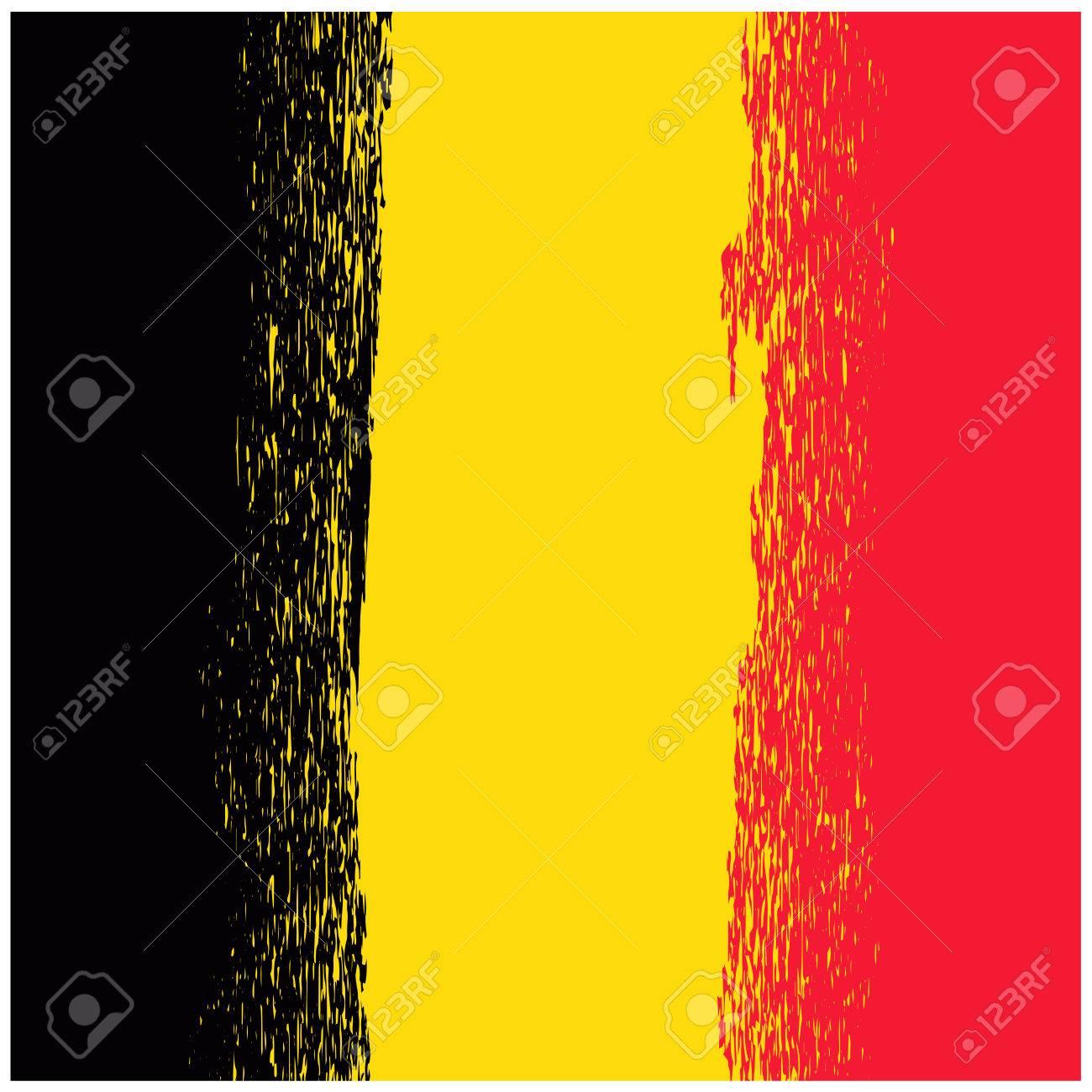 Bandera Nacional De Grunge De Bélgica Aislado. Símbolo De La ...