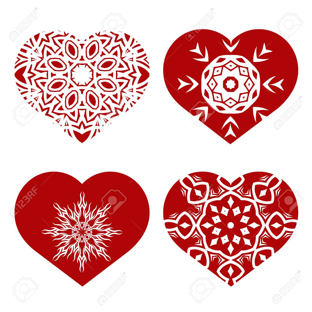 Romantic Red Heart Set Isolated On White Background Image Suitable