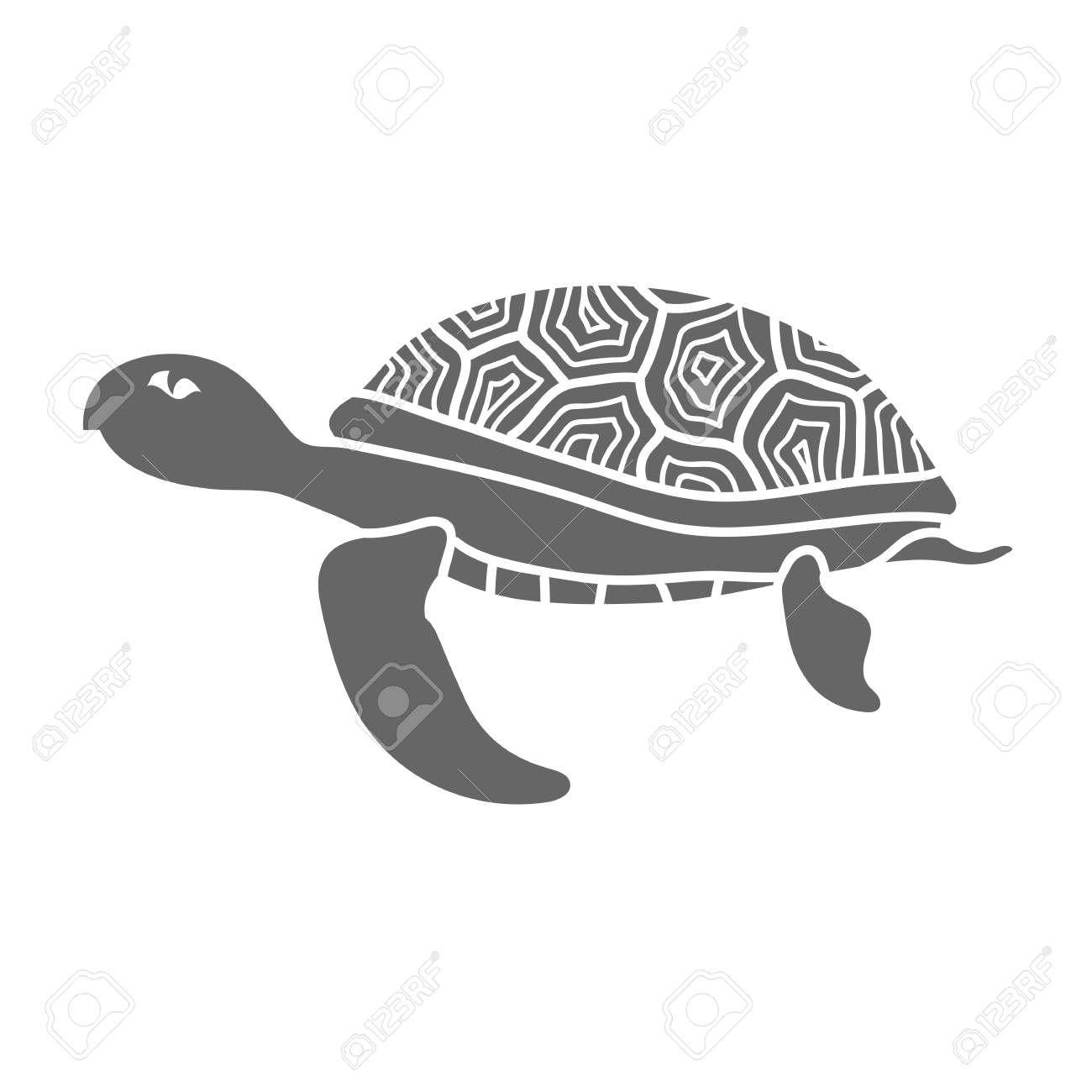 d096526b6 Ocean Turtle Icon Isolated on White Background. Sea Graphic Simple Animal  Logo. Stock Photo