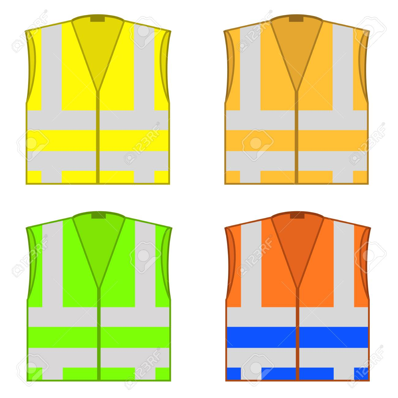 Set of colorful safety jackets isolated on white background. Protective work wear for work, road vests with stripes. Professional high-visibility clothes. - 95889175