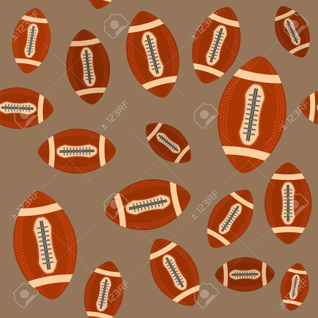 1cb5c50d4729b8 American Football Ball Seamless Pattern Isolated on Brown Background. Rugby  Sport Icon. Sports Equipment