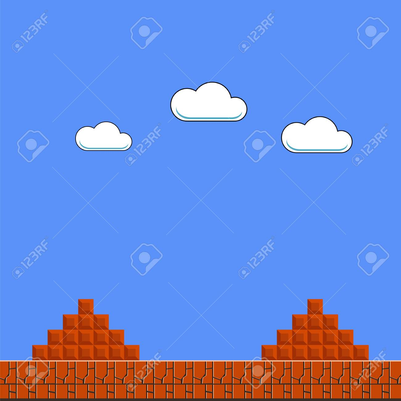 Old Game Background. Classic Retro Arcade Design with Clouds and Brick - 109454608