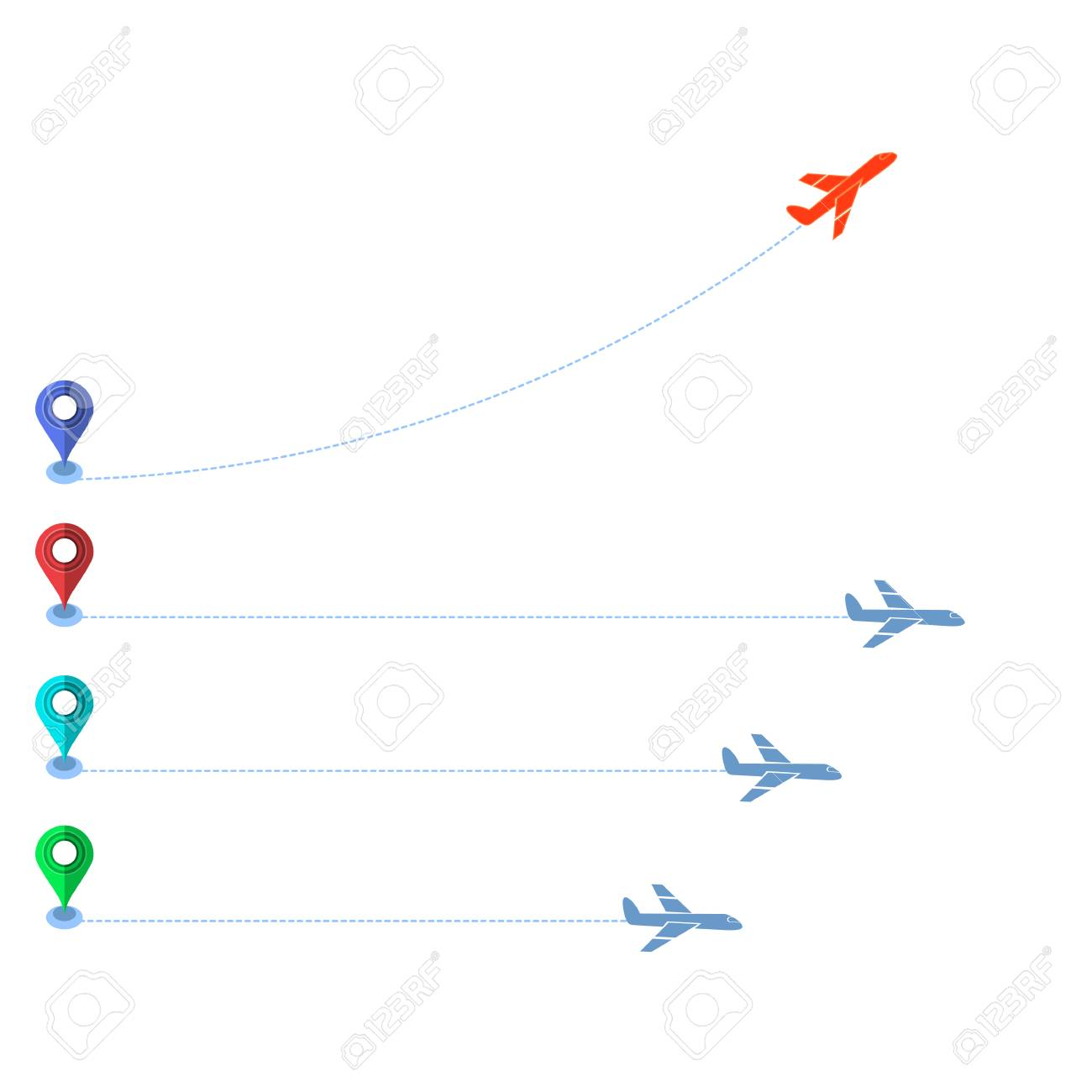 Track of Planes and Colored Markers Isolated on White Background