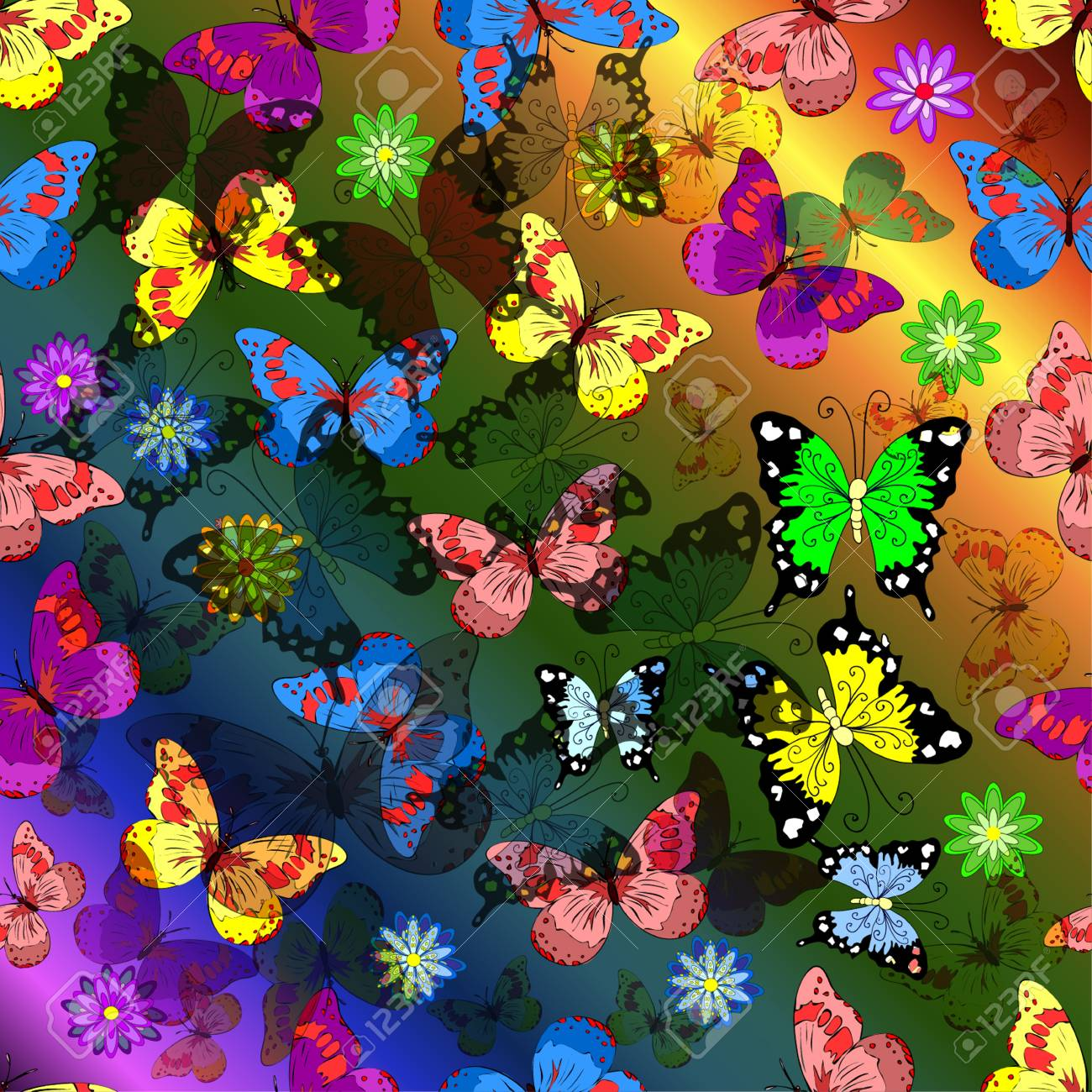 Beautiful Background With Flying Colorful Butterflies On Rainbow