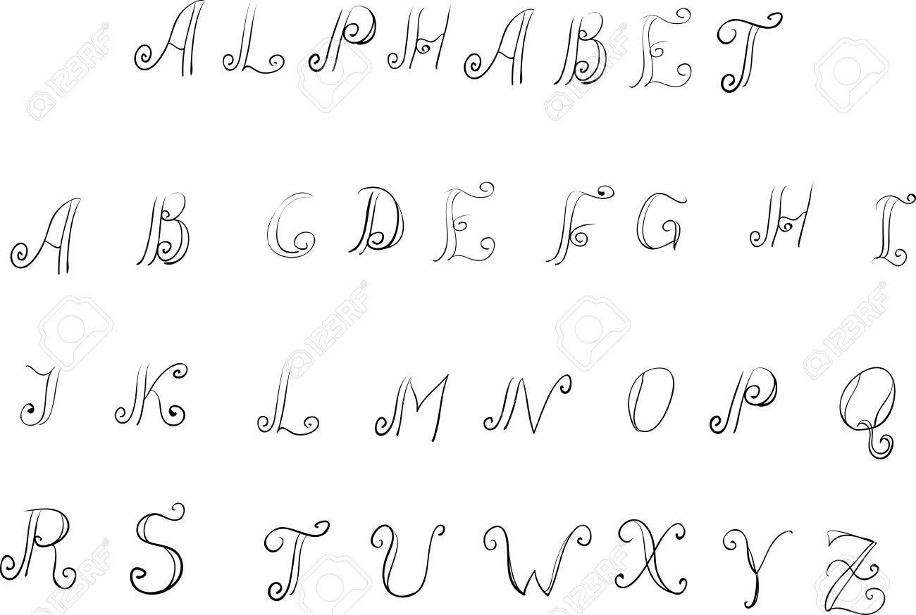 Handmade Vektor Kalligraphie Alphabet Auf Weißem Hintergrund ...