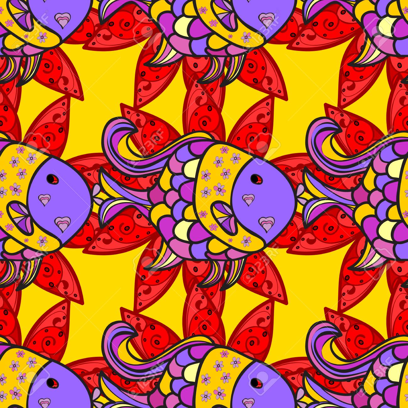 Colorful Small Fishes On Floral Background. Vector Illustration ...