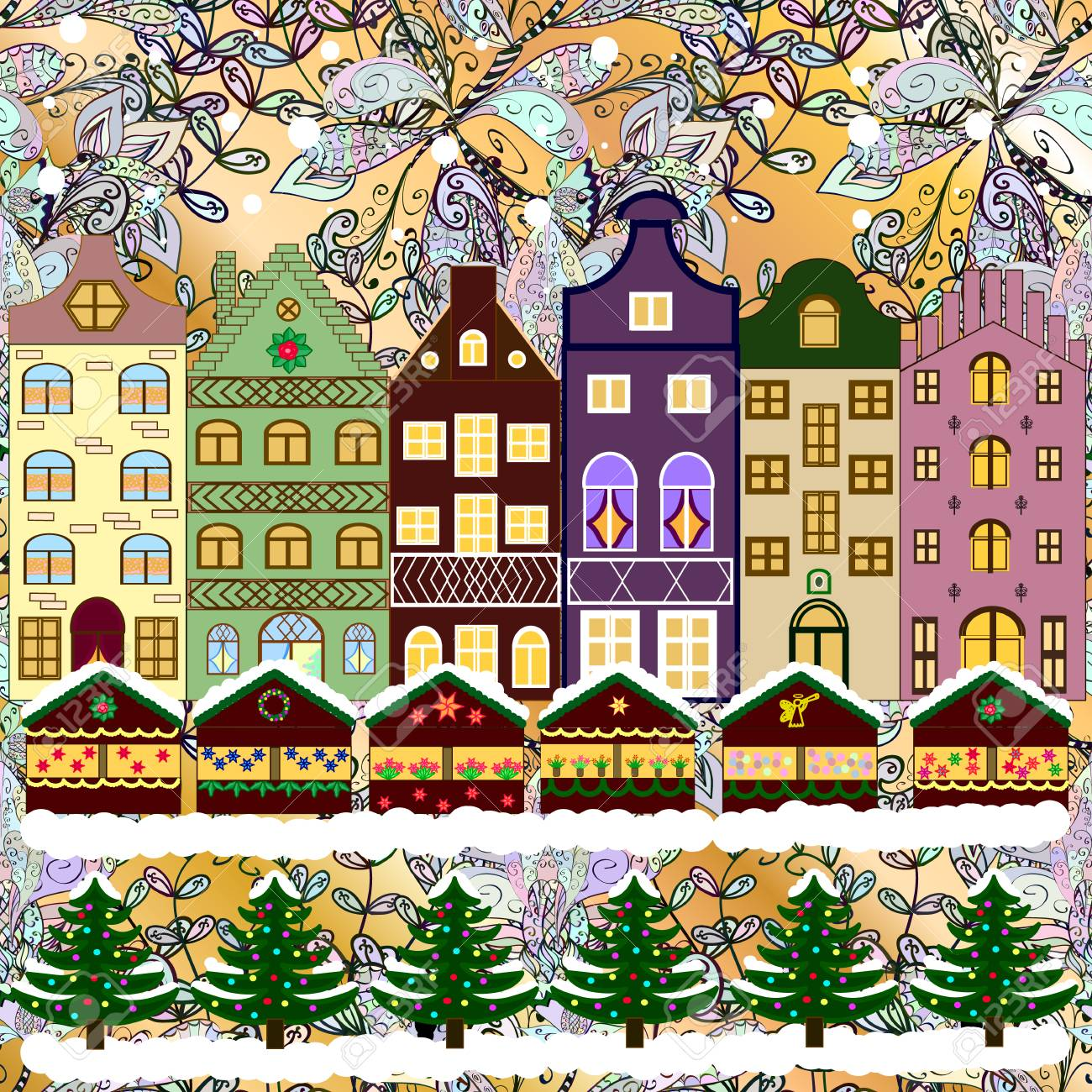 Vector xmas card with a decorated snowy old town at Christmas eve - 60319216